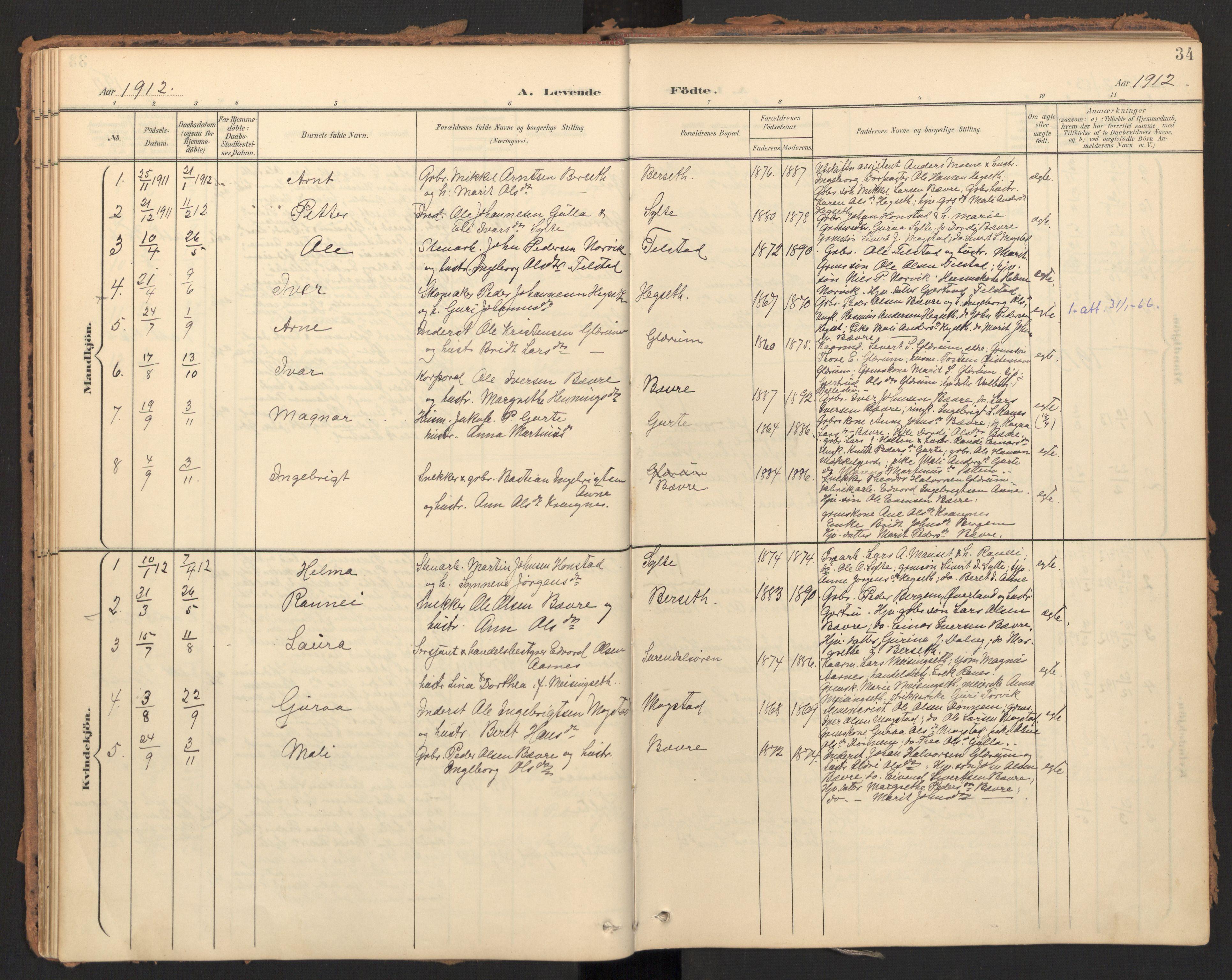 SAT, Ministerialprotokoller, klokkerbøker og fødselsregistre - Møre og Romsdal, 595/L1048: Ministerialbok nr. 595A10, 1900-1917, s. 34