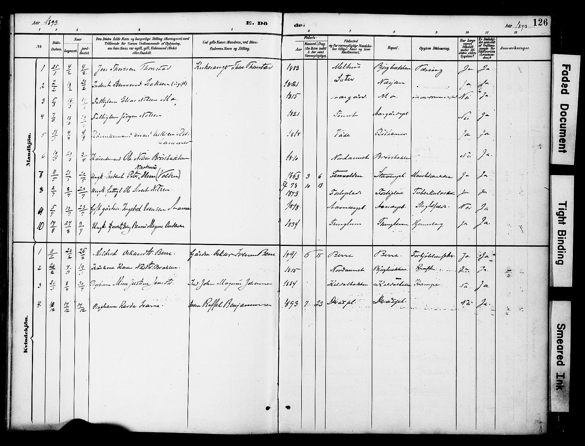 SAT, Ministerialprotokoller, klokkerbøker og fødselsregistre - Nord-Trøndelag, 742/L0409: Ministerialbok nr. 742A02, 1891-1905, s. 126
