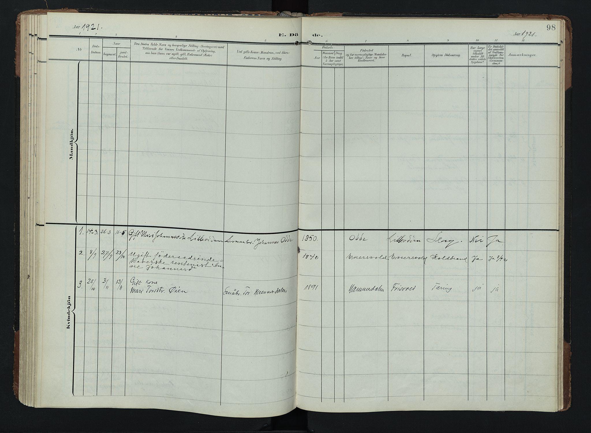 SAH, Lom prestekontor, K/L0011: Ministerialbok nr. 11, 1904-1928, s. 98
