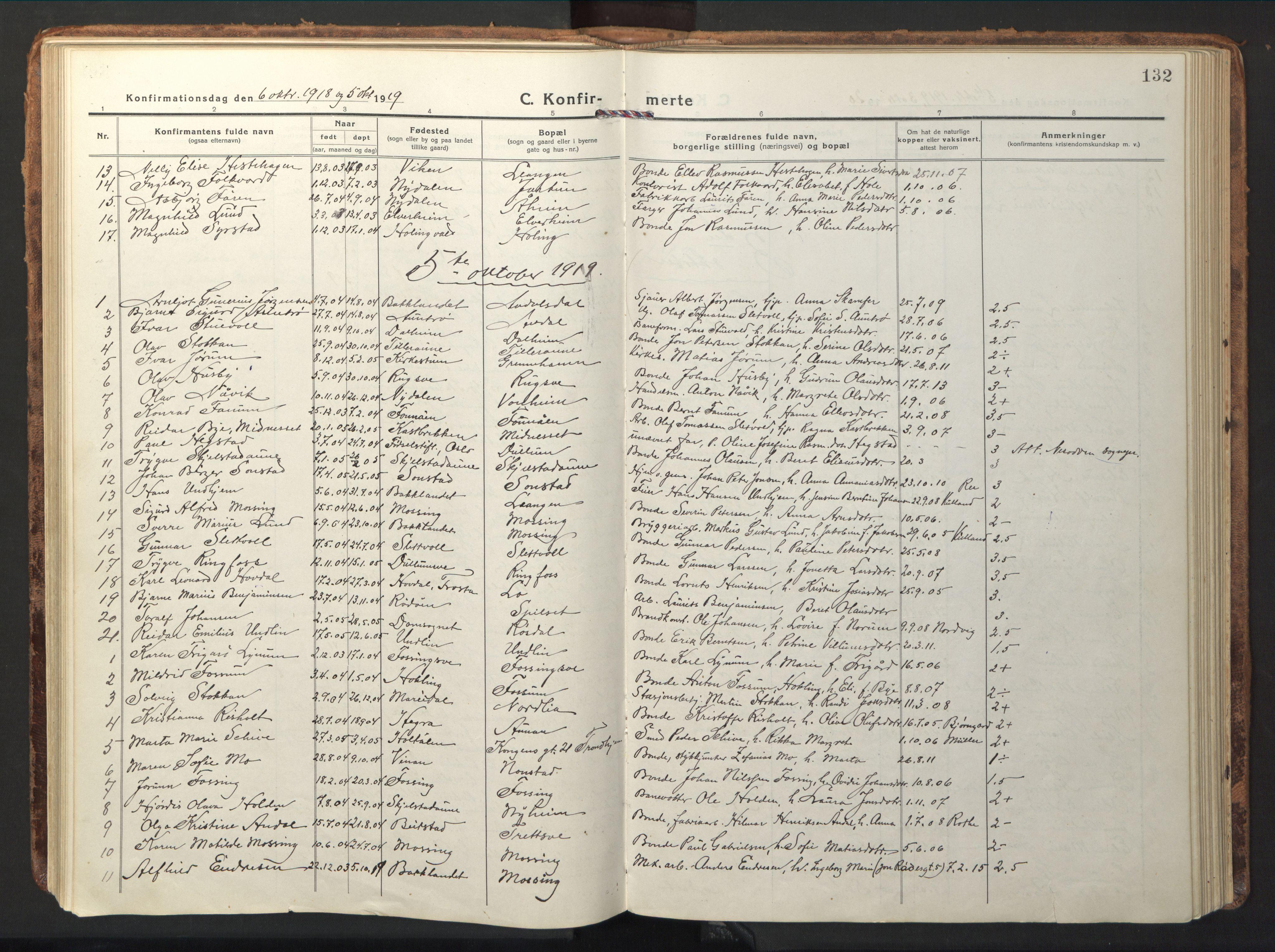 SAT, Ministerialprotokoller, klokkerbøker og fødselsregistre - Nord-Trøndelag, 714/L0136: Klokkerbok nr. 714C05, 1918-1957, s. 132