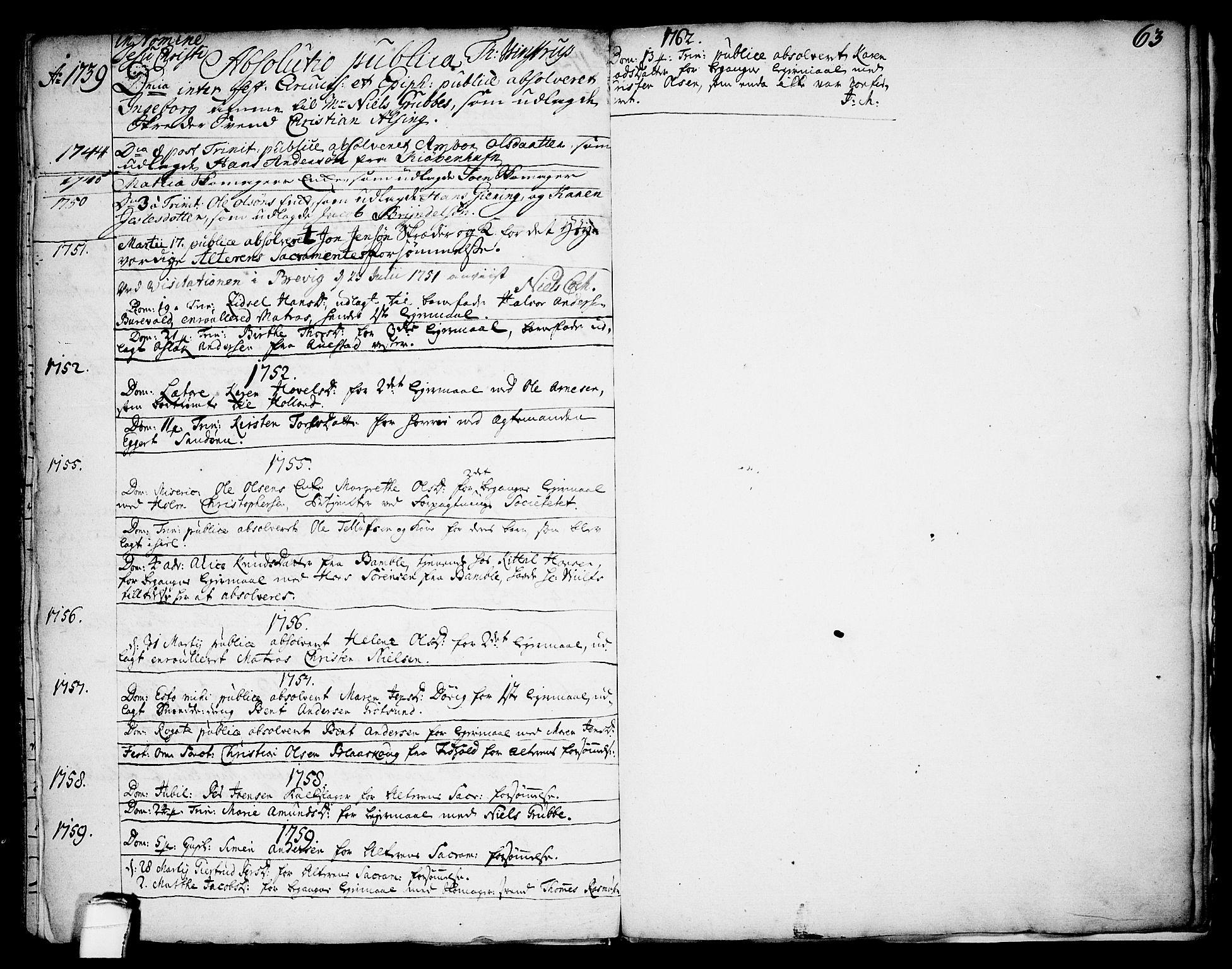 SAKO, Brevik kirkebøker, F/Fa/L0002: Ministerialbok nr. 2, 1720-1764, s. 63