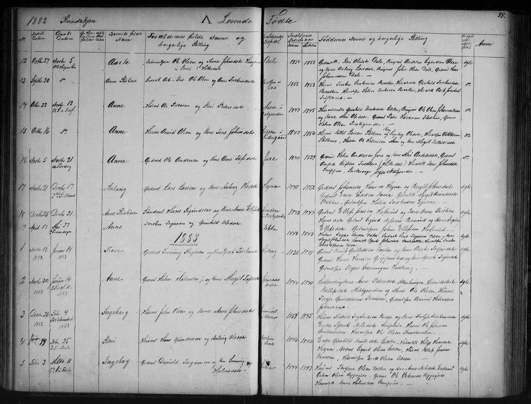 SAKO, Sauherad kirkebøker, G/Ga/L0003: Klokkerbok nr. I 3, 1866-1905, s. 55