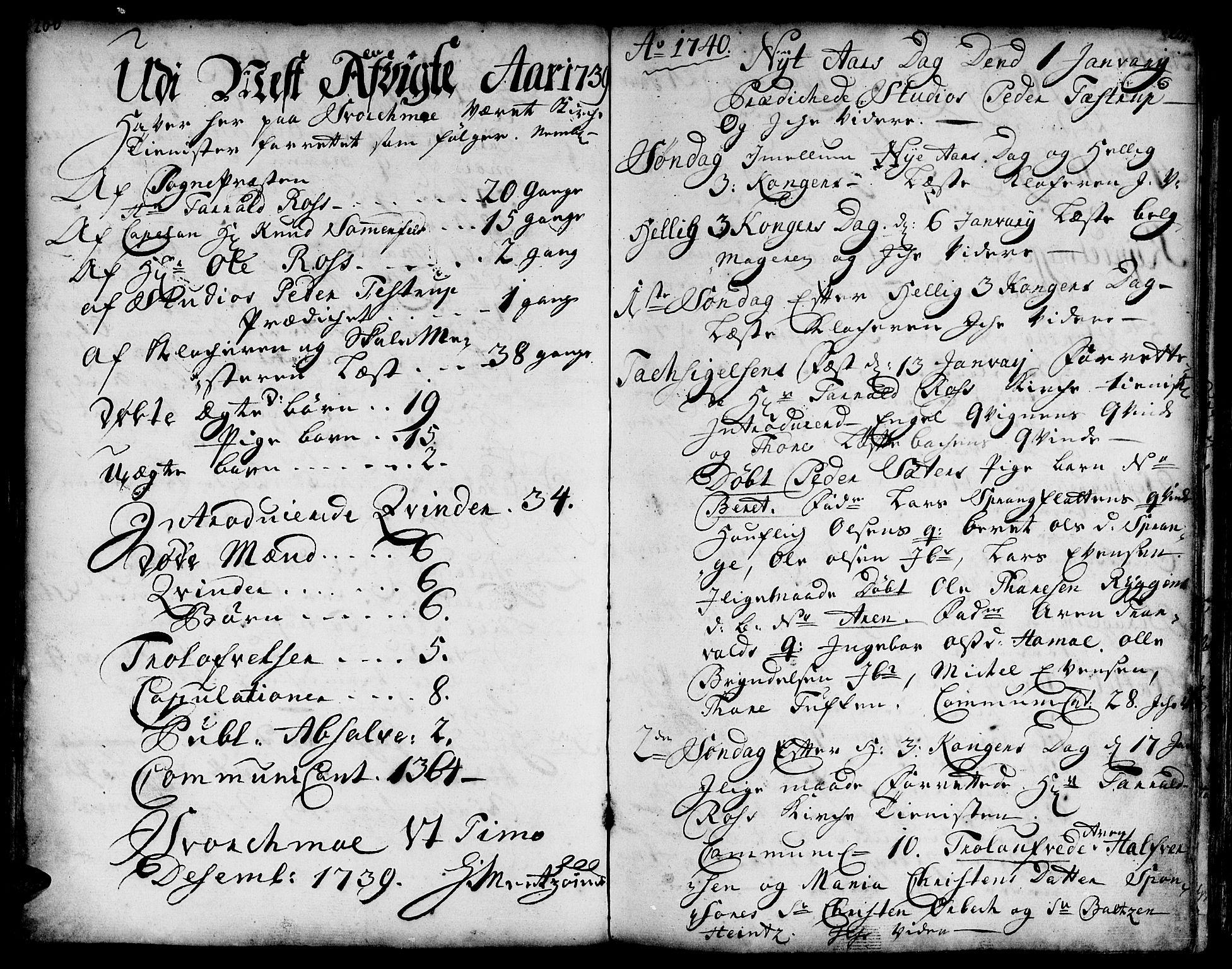SAT, Ministerialprotokoller, klokkerbøker og fødselsregistre - Sør-Trøndelag, 671/L0839: Ministerialbok nr. 671A01, 1730-1755, s. 200-201