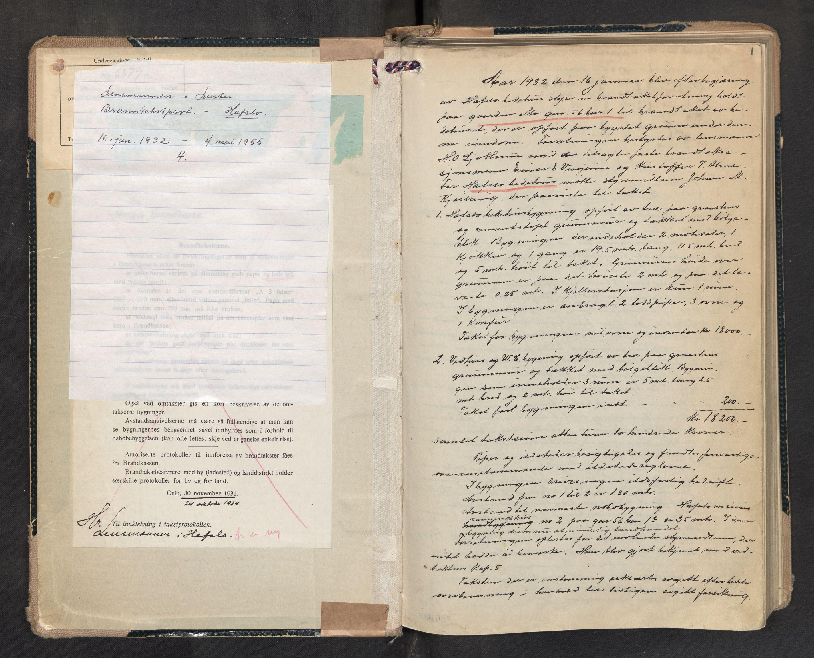 SAB, Lensmannen i Hafslo, 0012/L0004: Branntakstprotokoll, 1932-1955, s. 1a