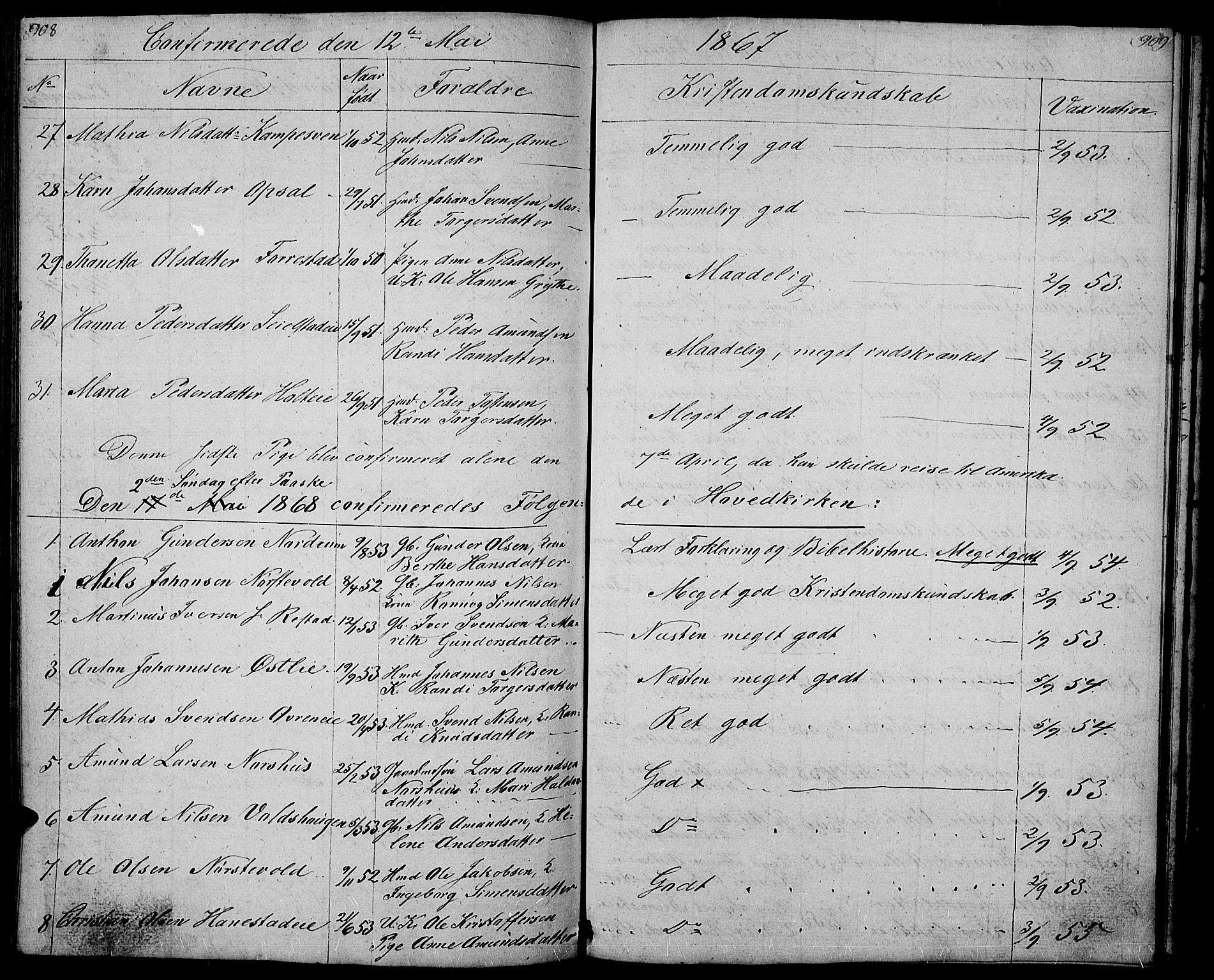 SAH, Gausdal prestekontor, Klokkerbok nr. 4, 1835-1870, s. 908-909
