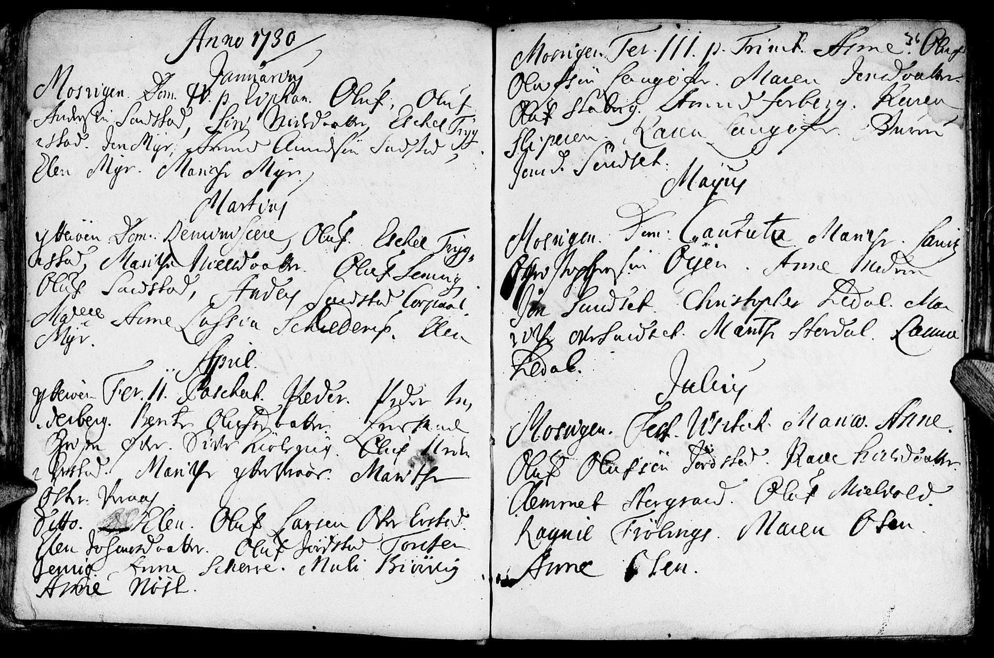 SAT, Ministerialprotokoller, klokkerbøker og fødselsregistre - Nord-Trøndelag, 722/L0215: Ministerialbok nr. 722A02, 1718-1755, s. 36