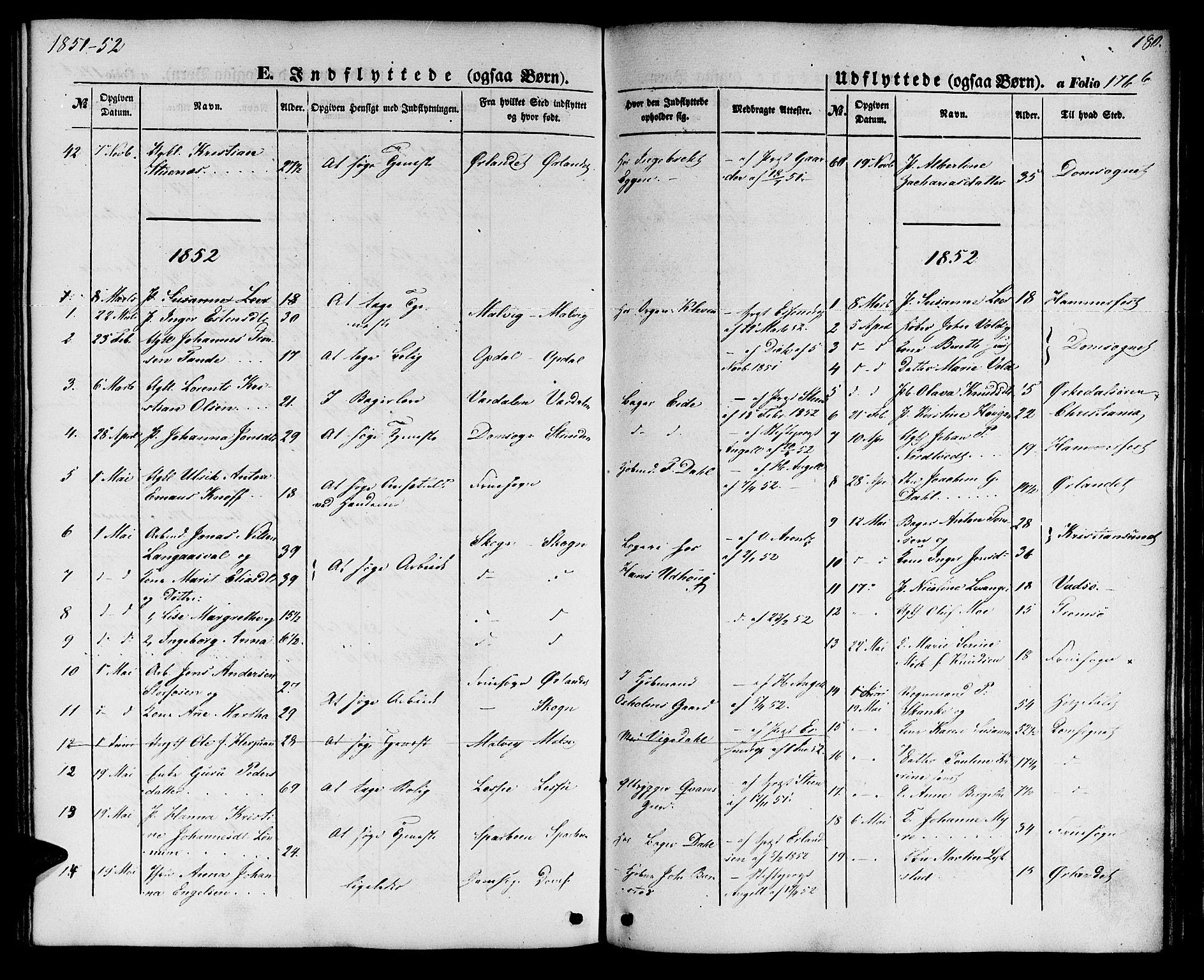 SAT, Ministerialprotokoller, klokkerbøker og fødselsregistre - Sør-Trøndelag, 604/L0184: Ministerialbok nr. 604A05, 1851-1860, s. 180