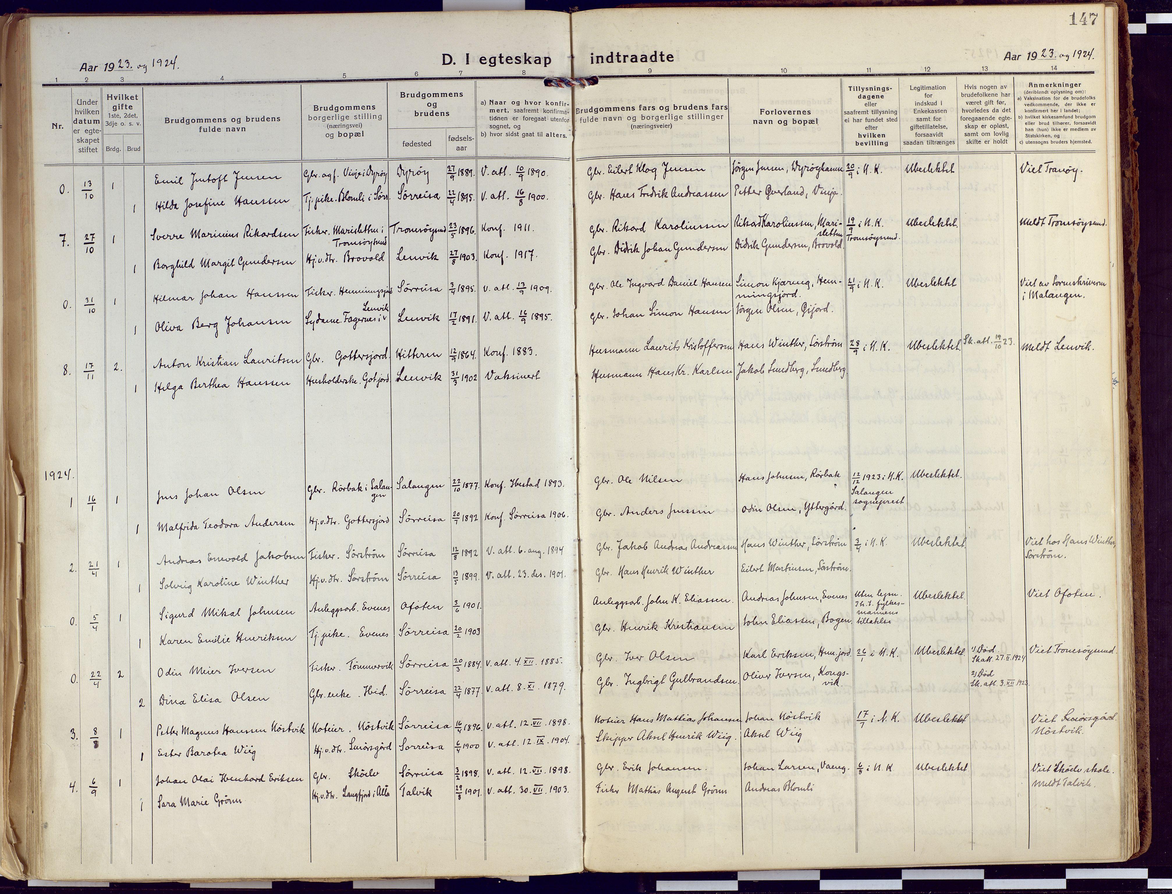 SATØ, Tranøy sokneprestkontor, I/Ia/Iaa/L0015kirke: Ministerialbok nr. 15, 1919-1928, s. 147