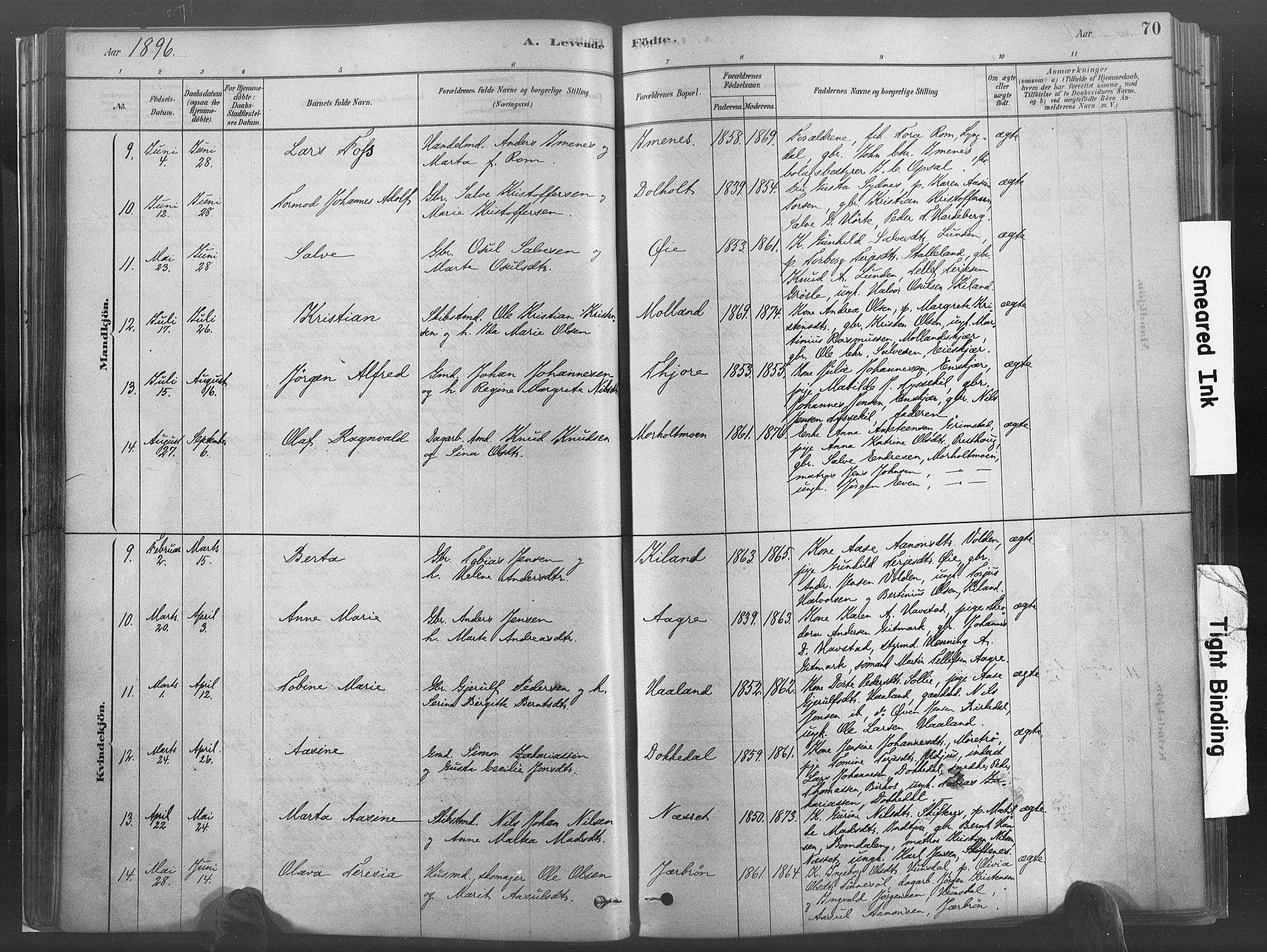 SAK, Hommedal sokneprestkontor, F/Fa/Fab/L0006: Ministerialbok nr. A 6, 1878-1897, s. 70
