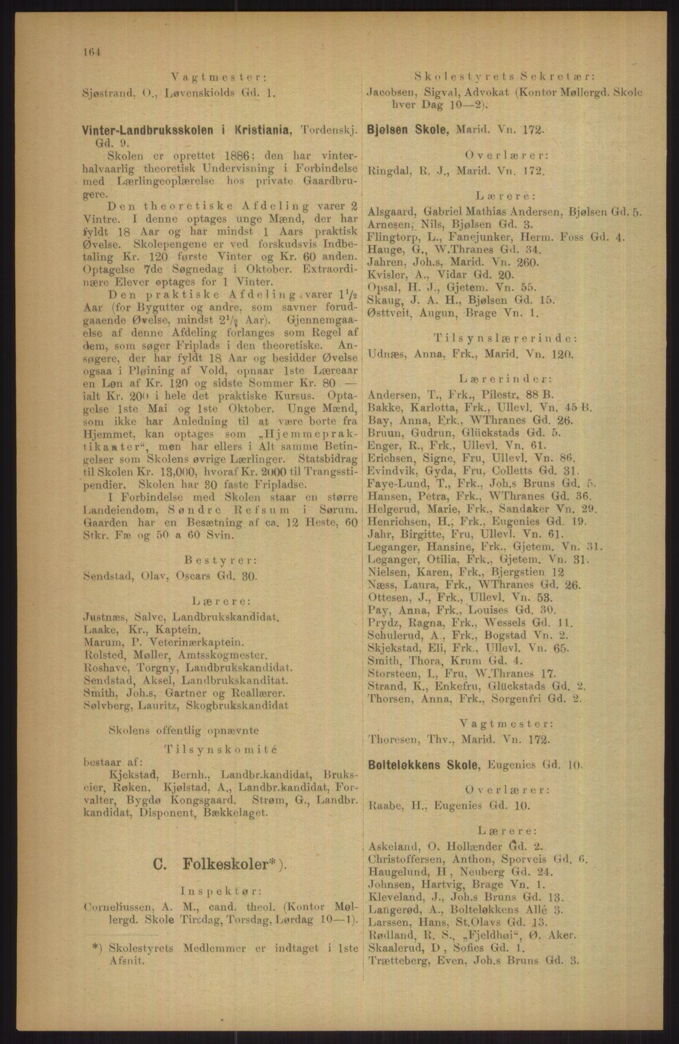 RA, Kristiania adressebok (publikasjon)*, 1911, s. 164