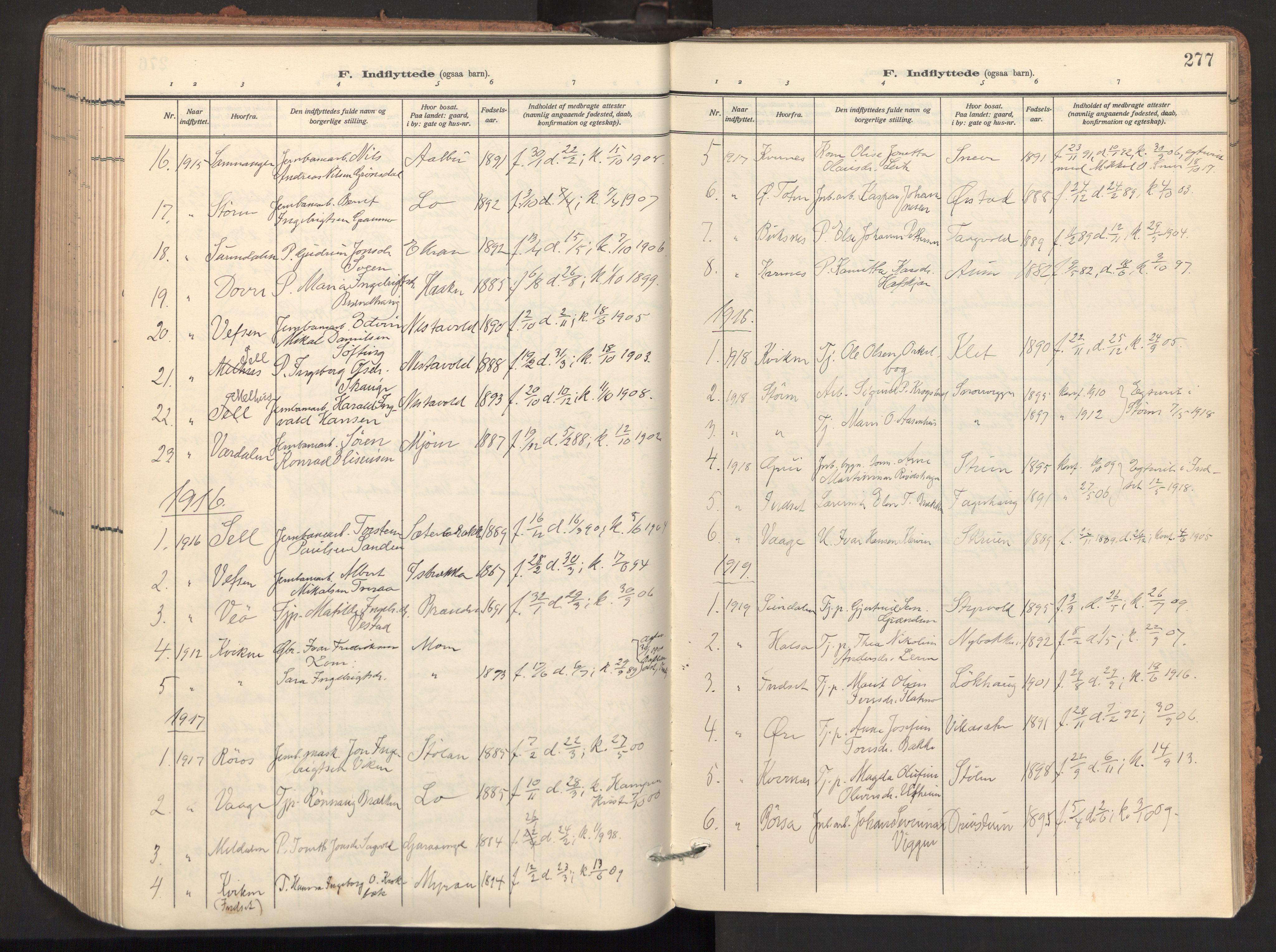 SAT, Ministerialprotokoller, klokkerbøker og fødselsregistre - Sør-Trøndelag, 678/L0909: Ministerialbok nr. 678A17, 1912-1930, s. 277