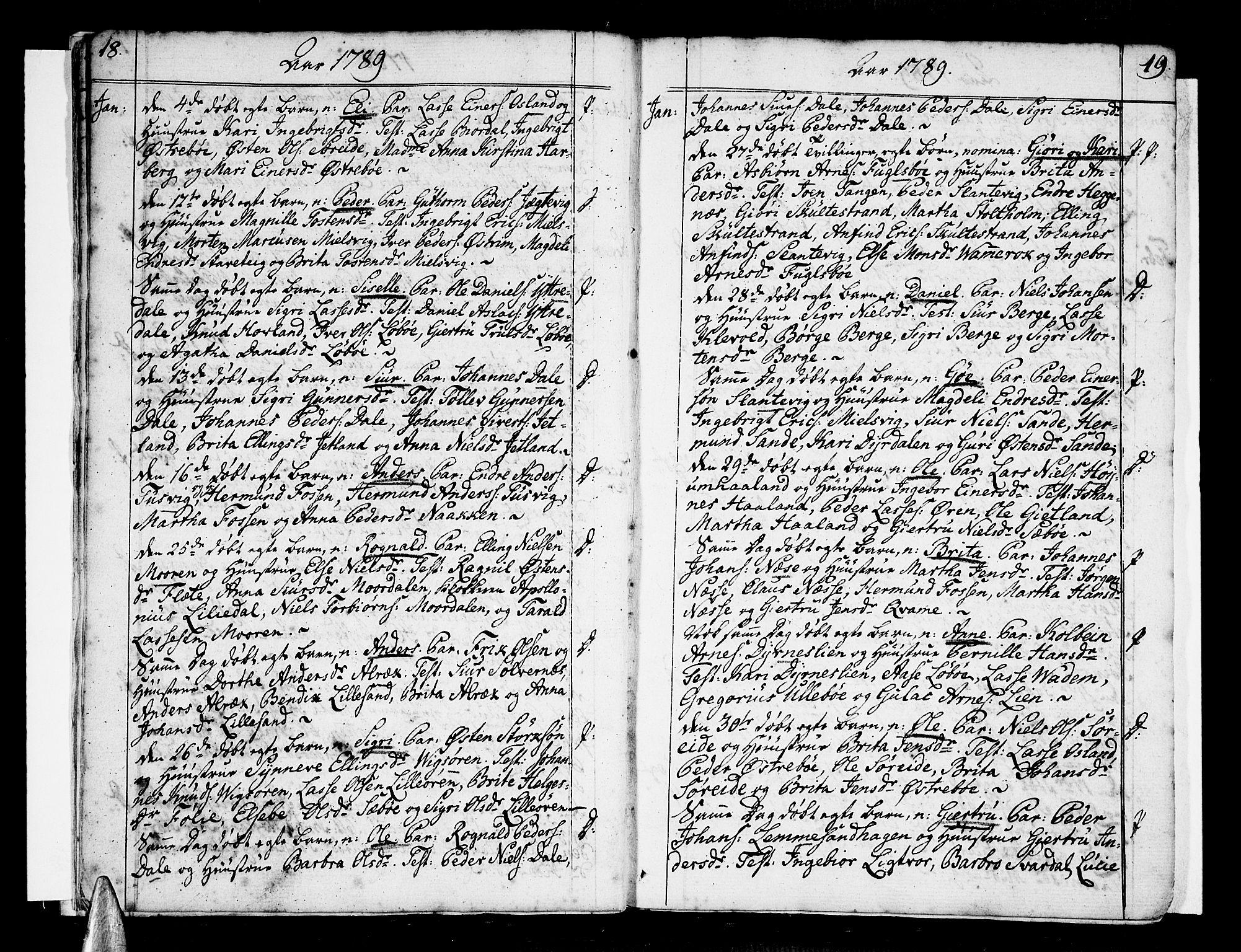 SAB, Vik Sokneprestembete, Ministerialbok nr. A 5, 1787-1820, s. 18-19