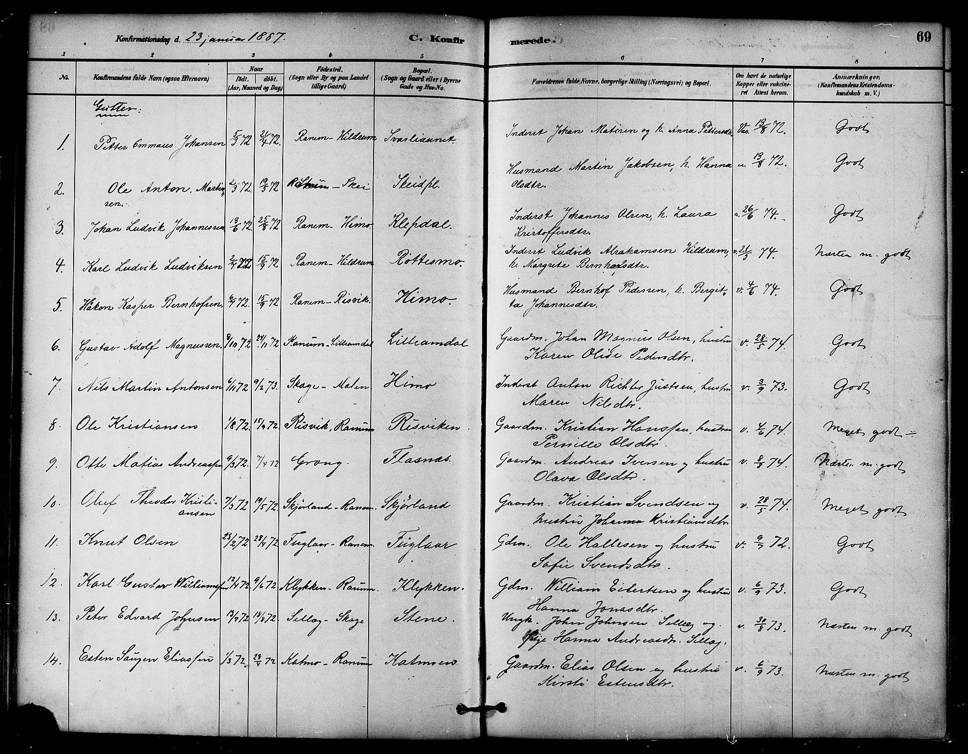 SAT, Ministerialprotokoller, klokkerbøker og fødselsregistre - Nord-Trøndelag, 764/L0555: Ministerialbok nr. 764A10, 1881-1896, s. 69