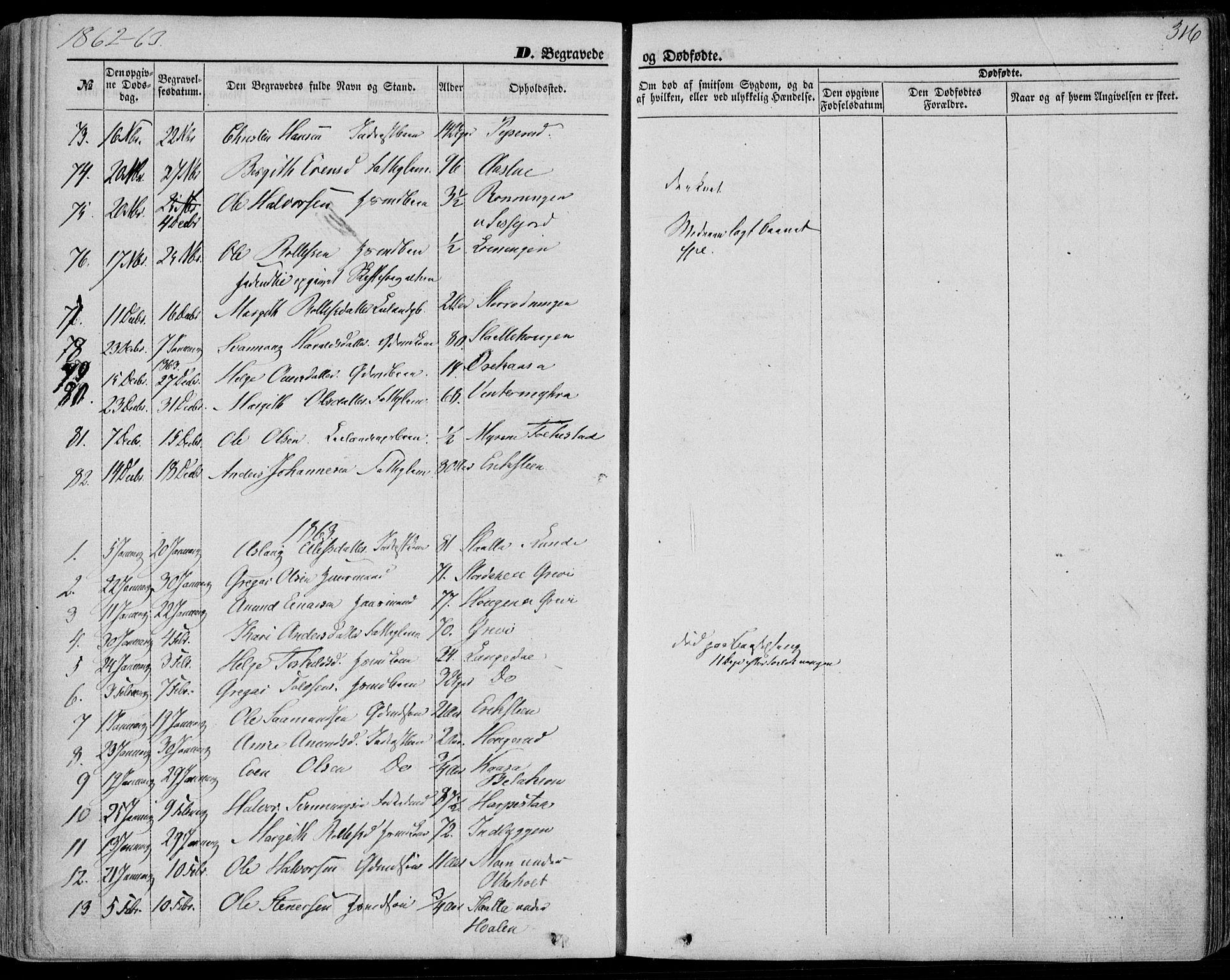 SAKO, Bø kirkebøker, F/Fa/L0009: Ministerialbok nr. 9, 1862-1879, s. 316