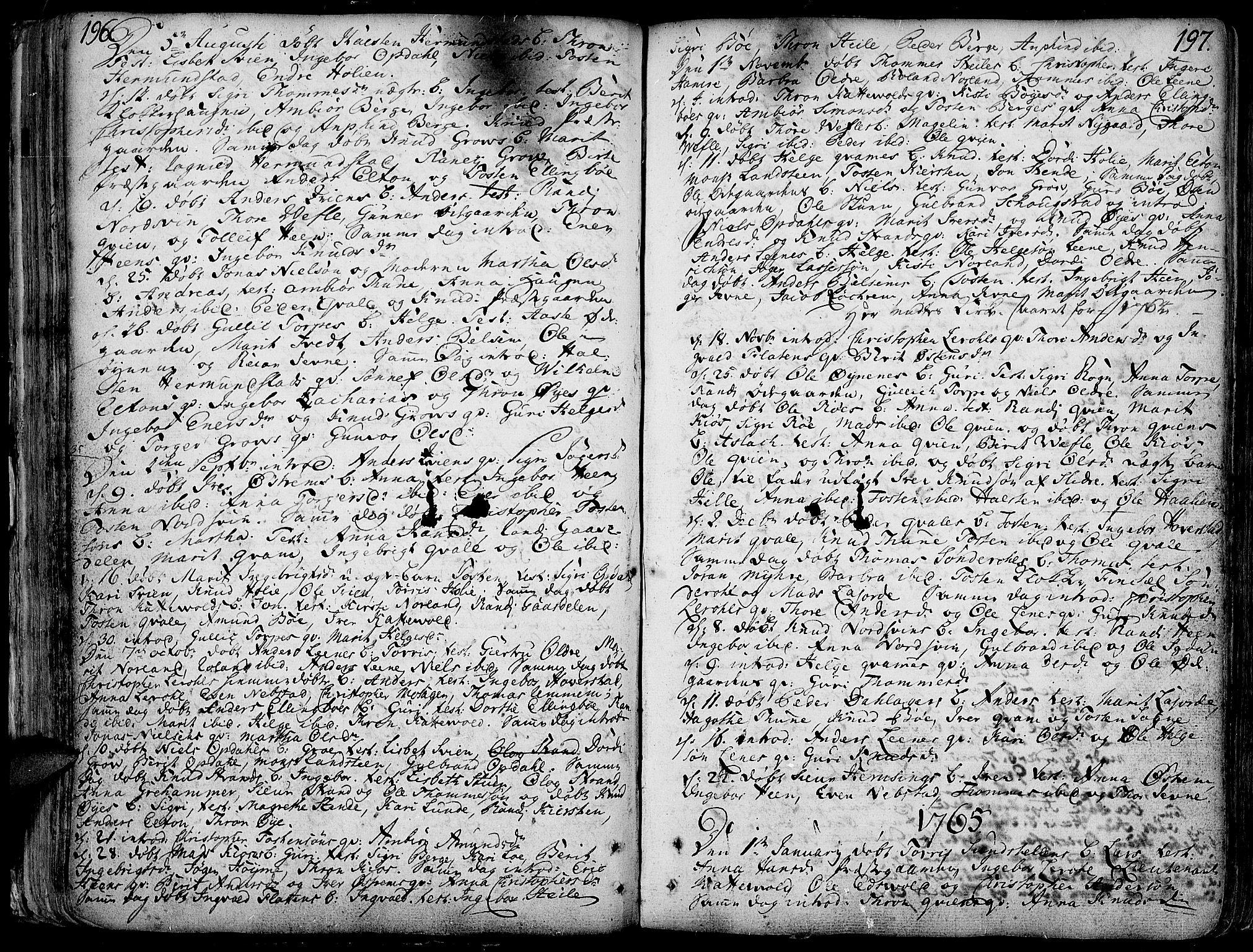SAH, Vang prestekontor, Valdres, Ministerialbok nr. 1, 1730-1796, s. 196-197