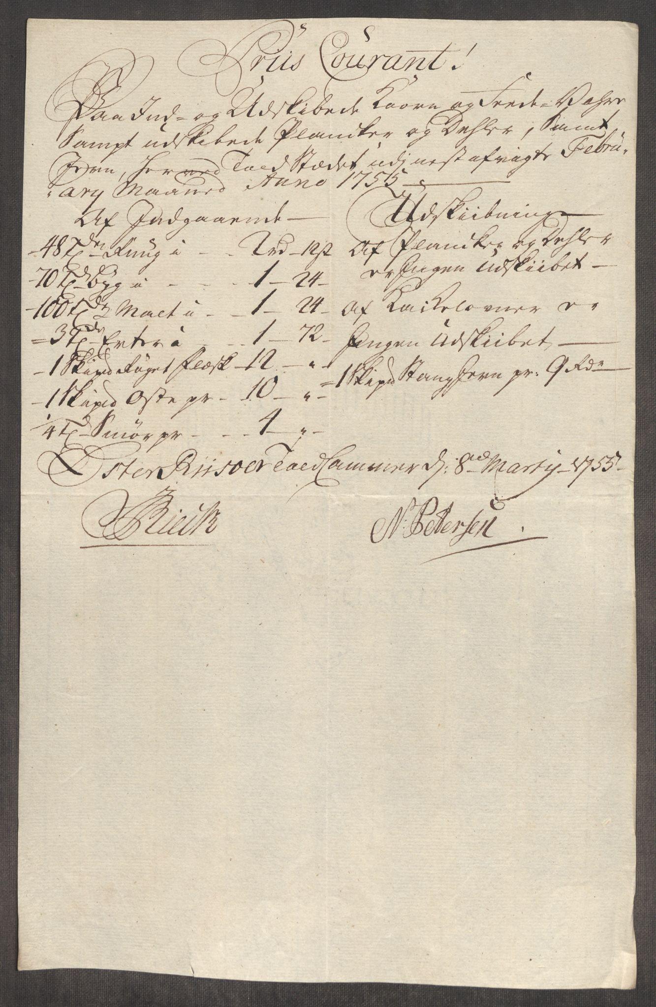 RA, Rentekammeret inntil 1814, Realistisk ordnet avdeling, Oe/L0005: [Ø1]: Priskuranter, 1753-1757, s. 533