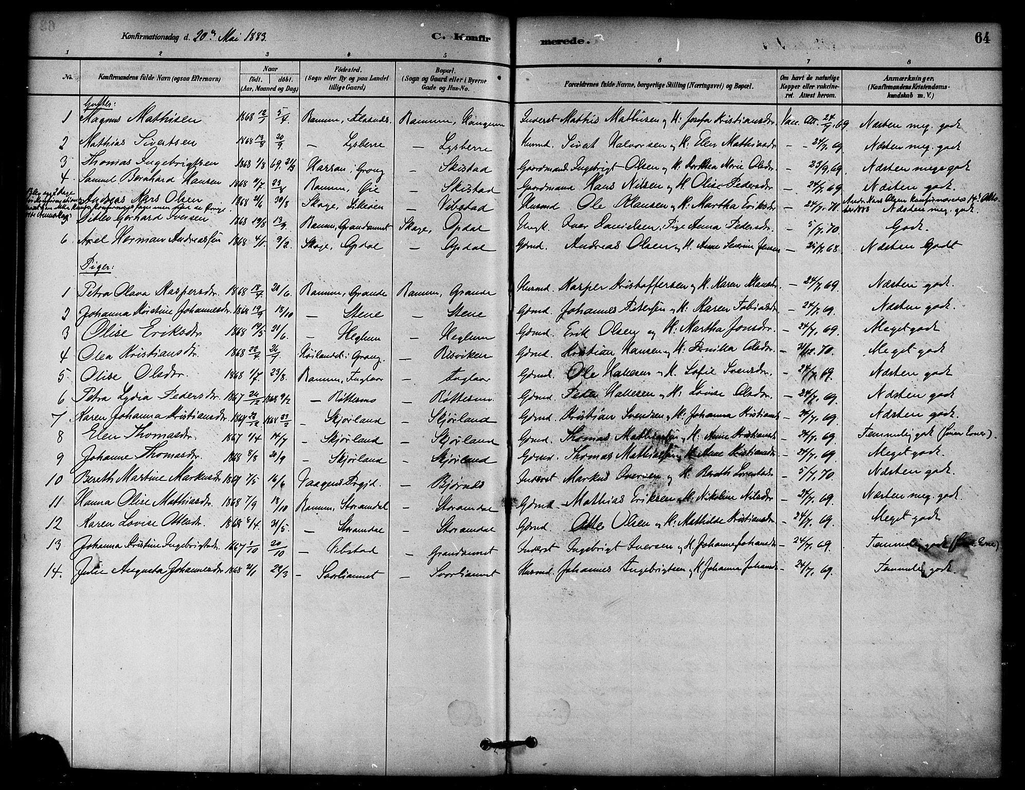 SAT, Ministerialprotokoller, klokkerbøker og fødselsregistre - Nord-Trøndelag, 764/L0555: Ministerialbok nr. 764A10, 1881-1896, s. 64