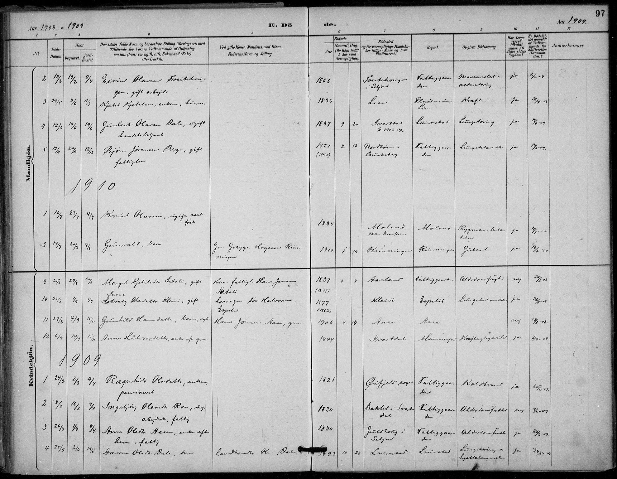 SAKO, Seljord kirkebøker, F/Fb/L0002: Ministerialbok nr. II 2, 1887-1917, s. 97