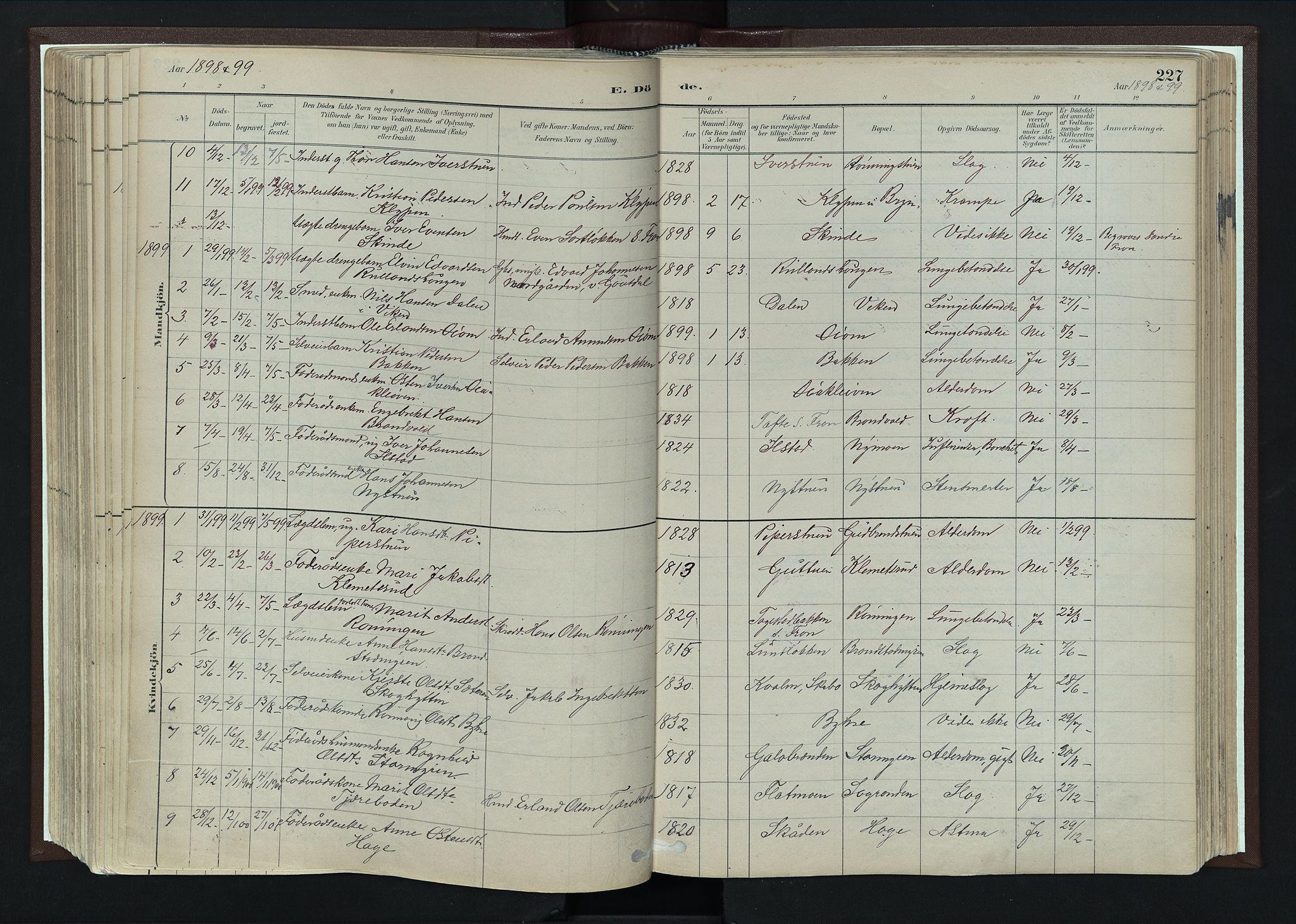 SAH, Nord-Fron prestekontor, Ministerialbok nr. 4, 1884-1914, s. 227