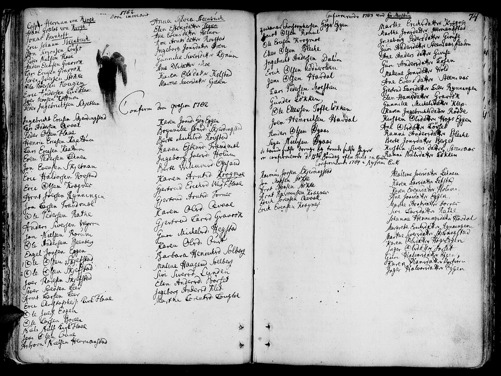 SAT, Ministerialprotokoller, klokkerbøker og fødselsregistre - Sør-Trøndelag, 691/L1061: Ministerialbok nr. 691A02 /1, 1768-1815, s. 74