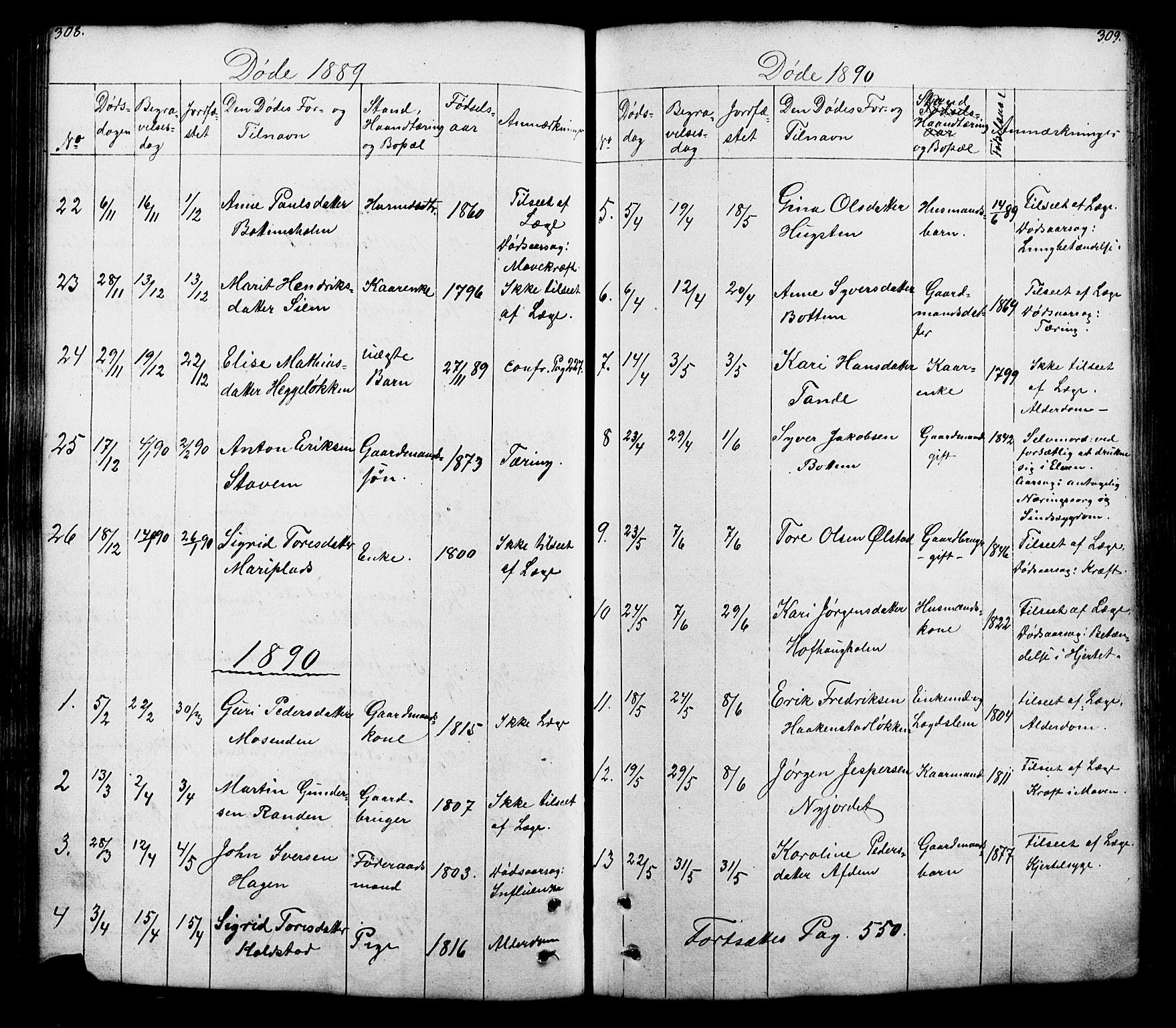SAH, Lesja prestekontor, Klokkerbok nr. 5, 1850-1894, s. 308-309