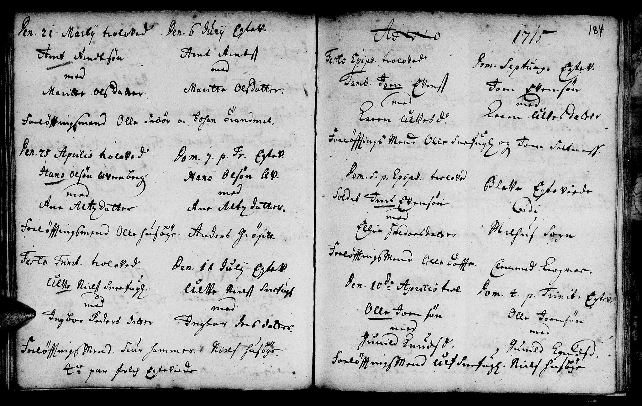 SAT, Ministerialprotokoller, klokkerbøker og fødselsregistre - Sør-Trøndelag, 666/L0783: Ministerialbok nr. 666A01, 1702-1753, s. 184