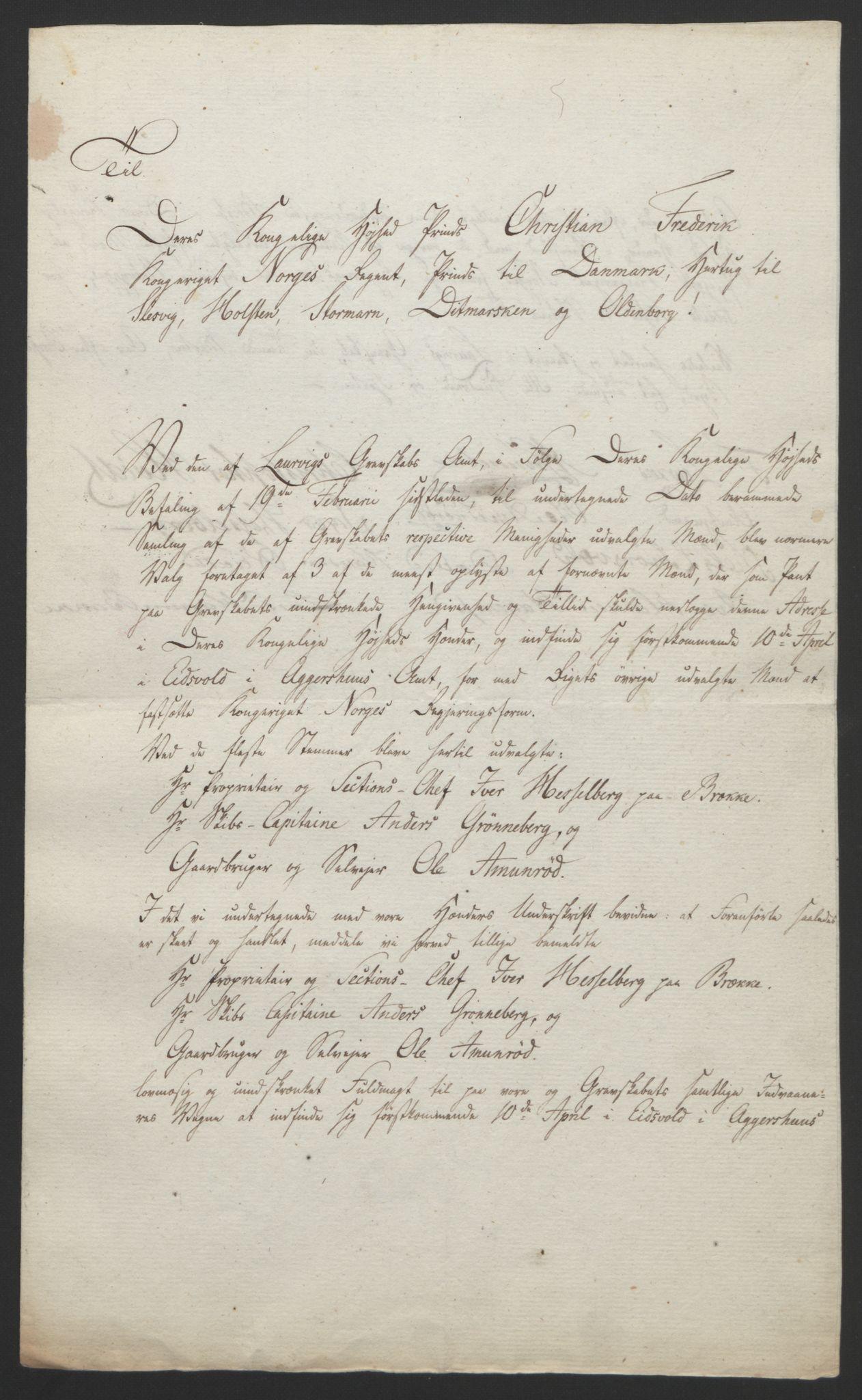 RA, Statsrådssekretariatet, D/Db/L0008: Fullmakter for Eidsvollsrepresentantene i 1814. , 1814, s. 28