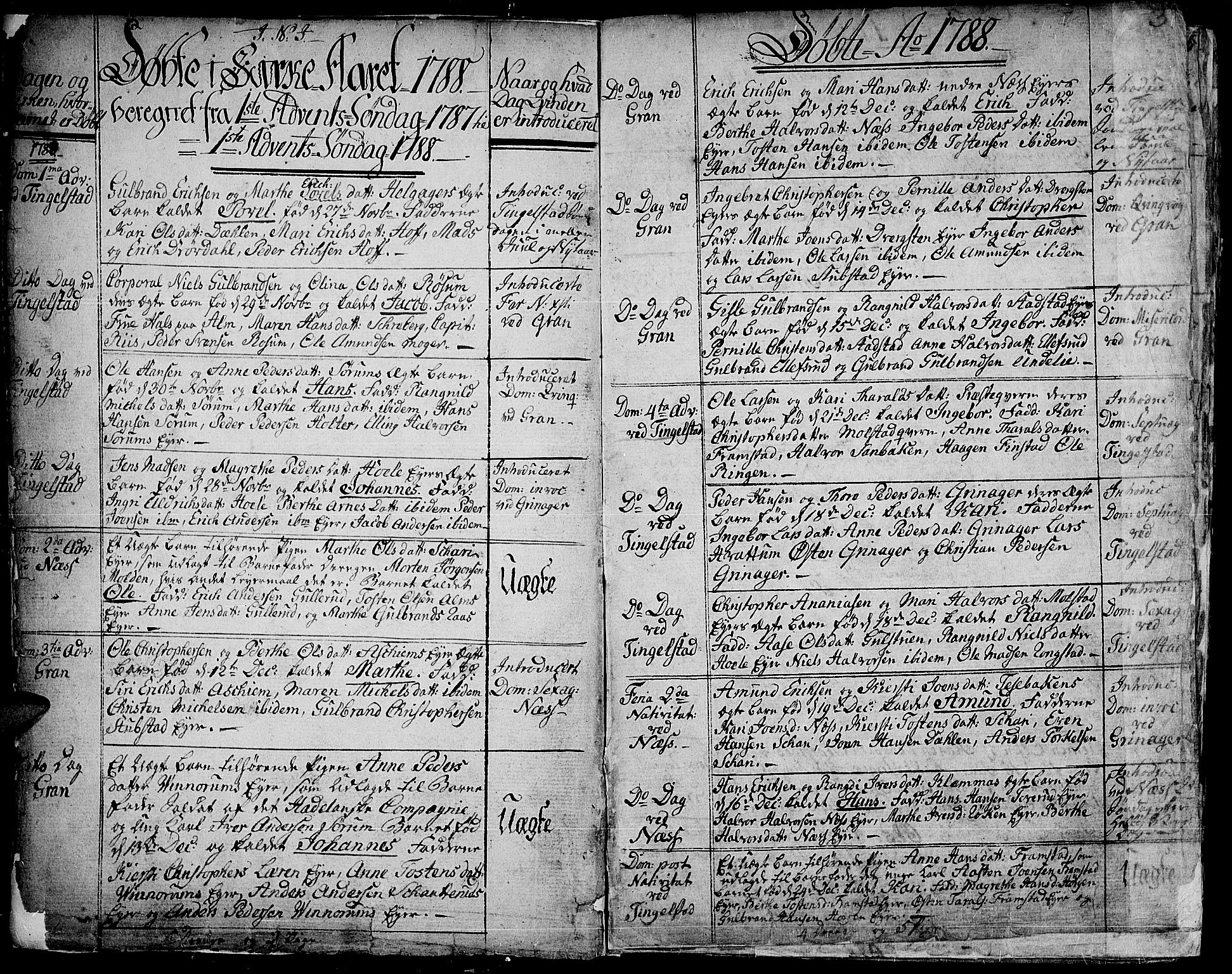 SAH, Gran prestekontor, Ministerialbok nr. 6, 1787-1824, s. 2-3