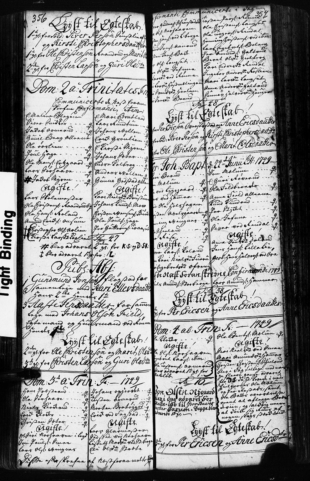 SAH, Fåberg prestekontor, Klokkerbok nr. 2, 1741-1756, s. 356-357