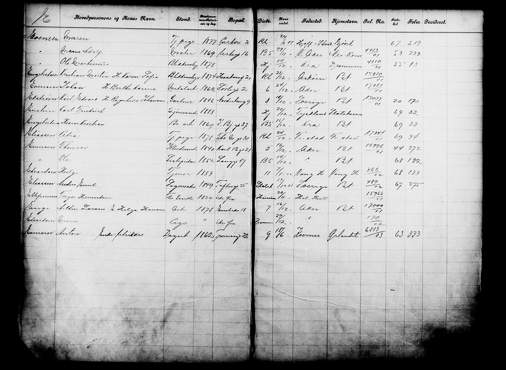 OBA, Fattigvesenet, Fb/L0021: Hjemstavnsregister, 1901, s. 211