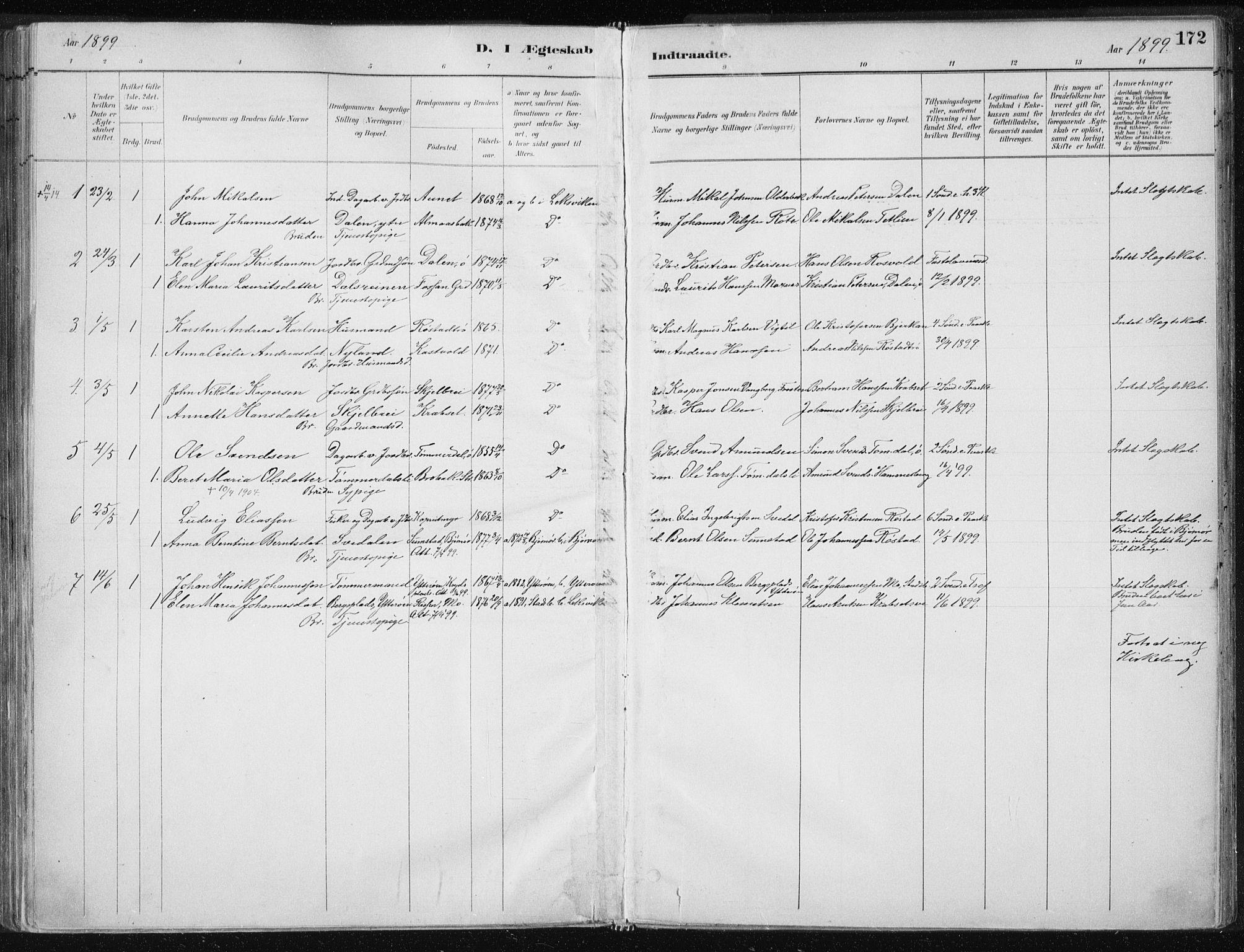 SAT, Ministerialprotokoller, klokkerbøker og fødselsregistre - Nord-Trøndelag, 701/L0010: Ministerialbok nr. 701A10, 1883-1899, s. 172