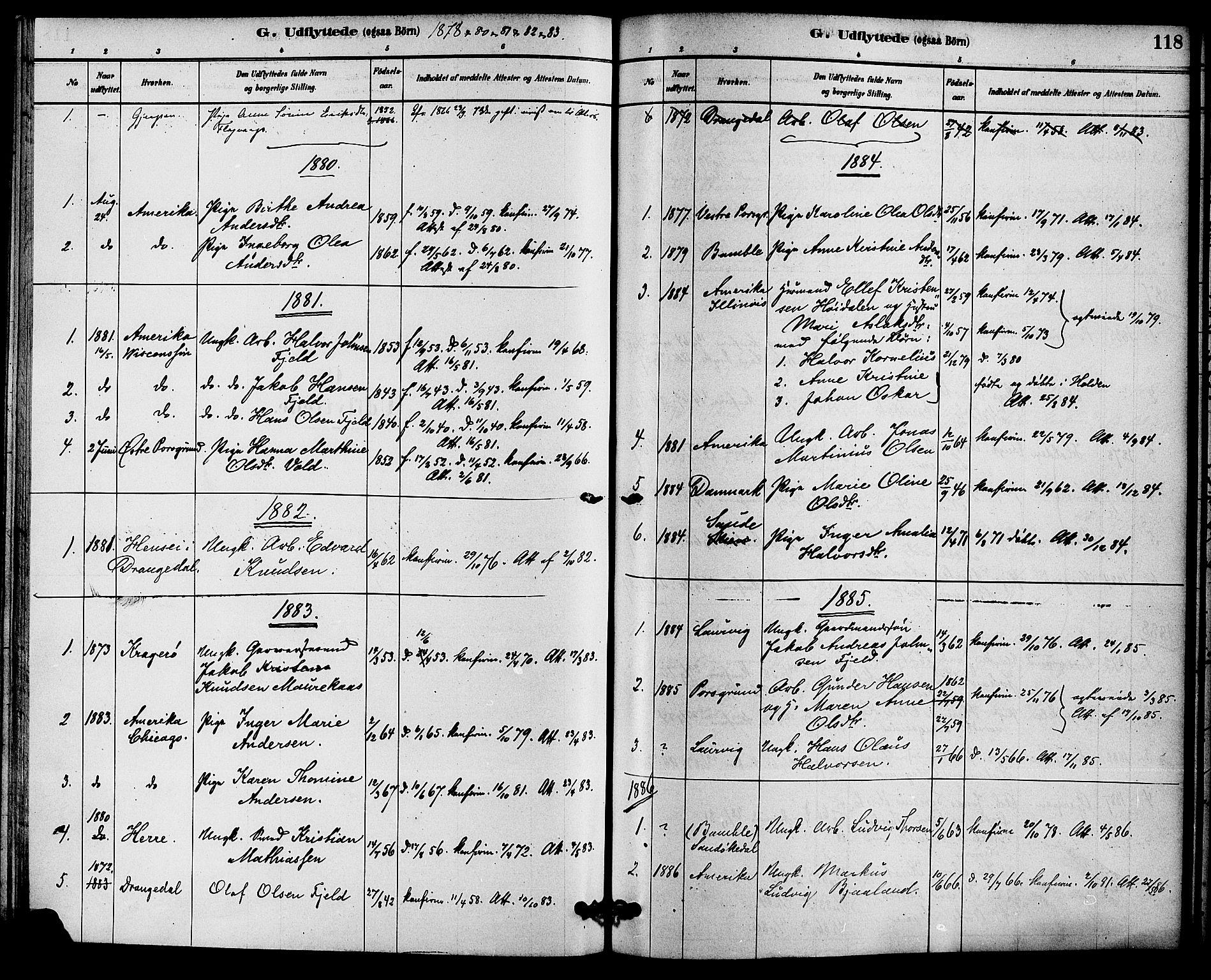 SAKO, Solum kirkebøker, F/Fc/L0001: Ministerialbok nr. III 1, 1877-1891, s. 118