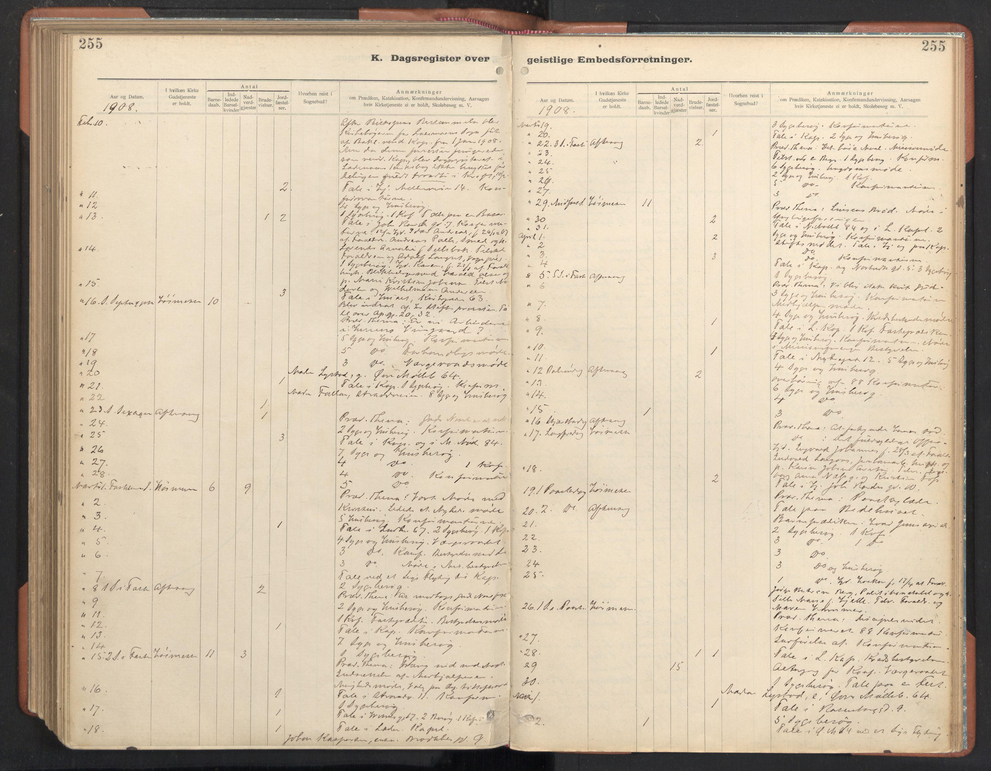 SAT, Ministerialprotokoller, klokkerbøker og fødselsregistre - Sør-Trøndelag, 605/L0244: Ministerialbok nr. 605A06, 1908-1954, s. 255