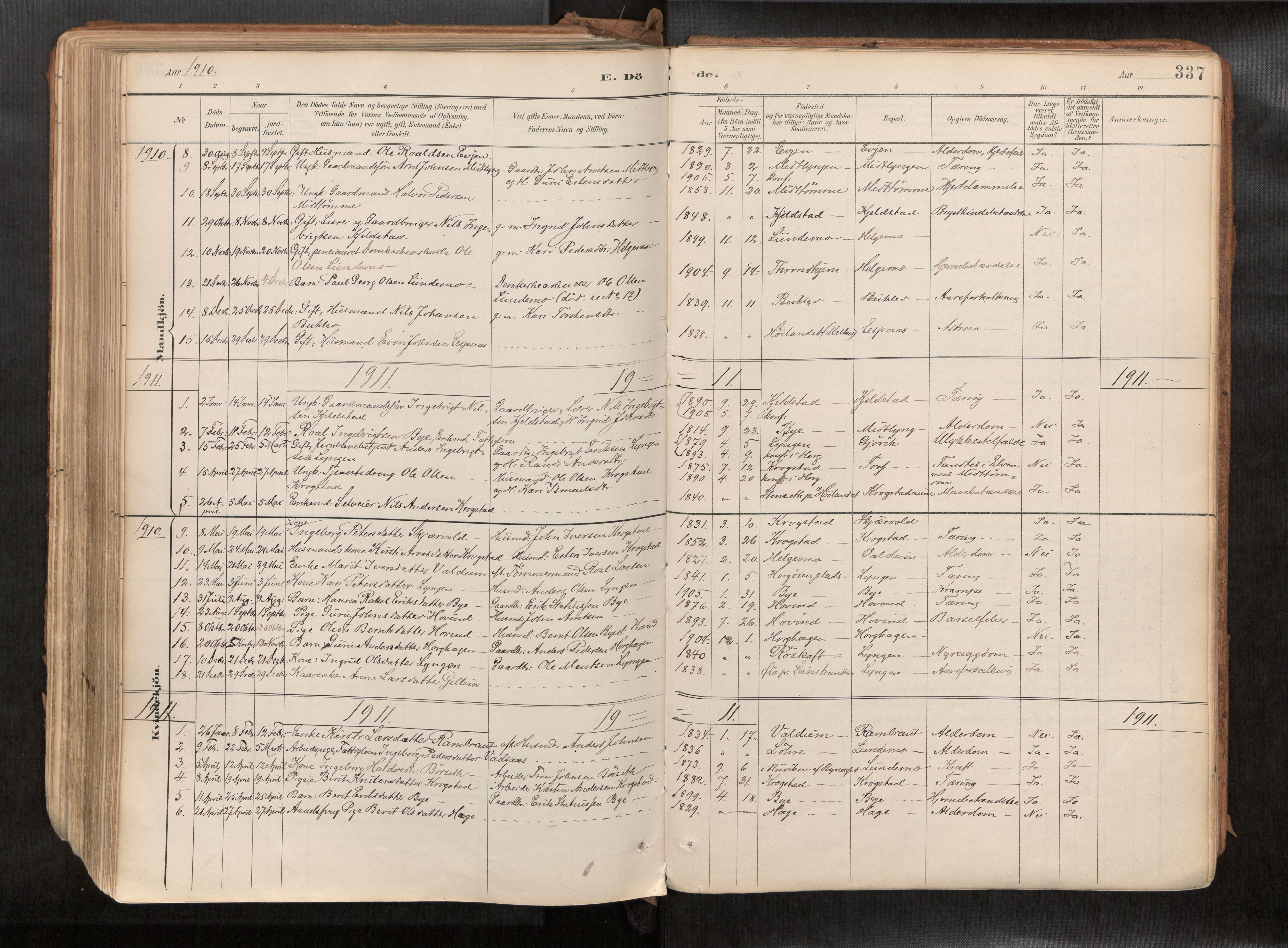 SAT, Ministerialprotokoller, klokkerbøker og fødselsregistre - Sør-Trøndelag, 692/L1105b: Ministerialbok nr. 692A06, 1891-1934, s. 337