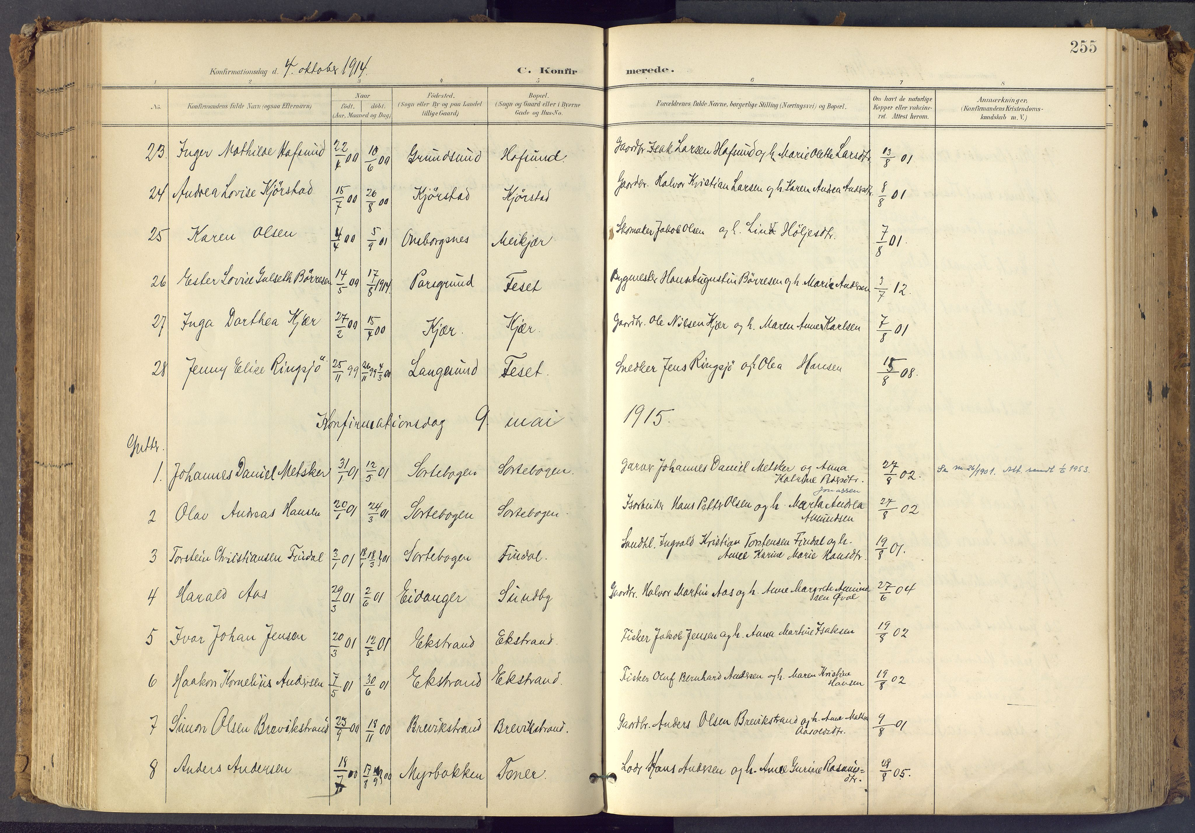 SAKO, Bamble kirkebøker, F/Fa/L0009: Ministerialbok nr. I 9, 1901-1917, s. 255