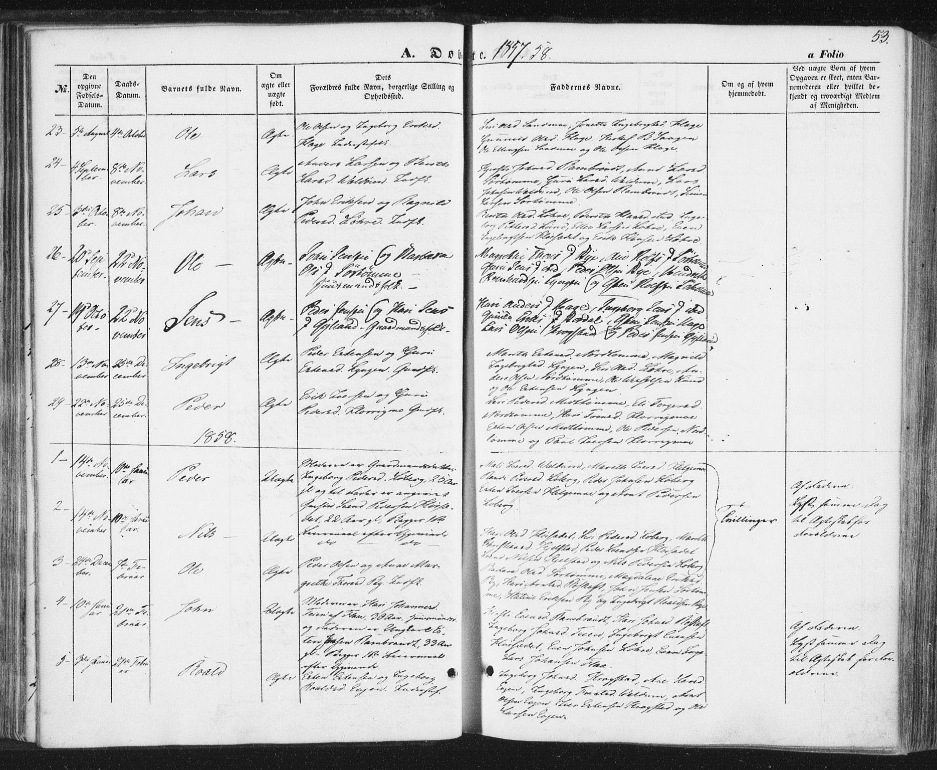 SAT, Ministerialprotokoller, klokkerbøker og fødselsregistre - Sør-Trøndelag, 692/L1103: Ministerialbok nr. 692A03, 1849-1870, s. 53