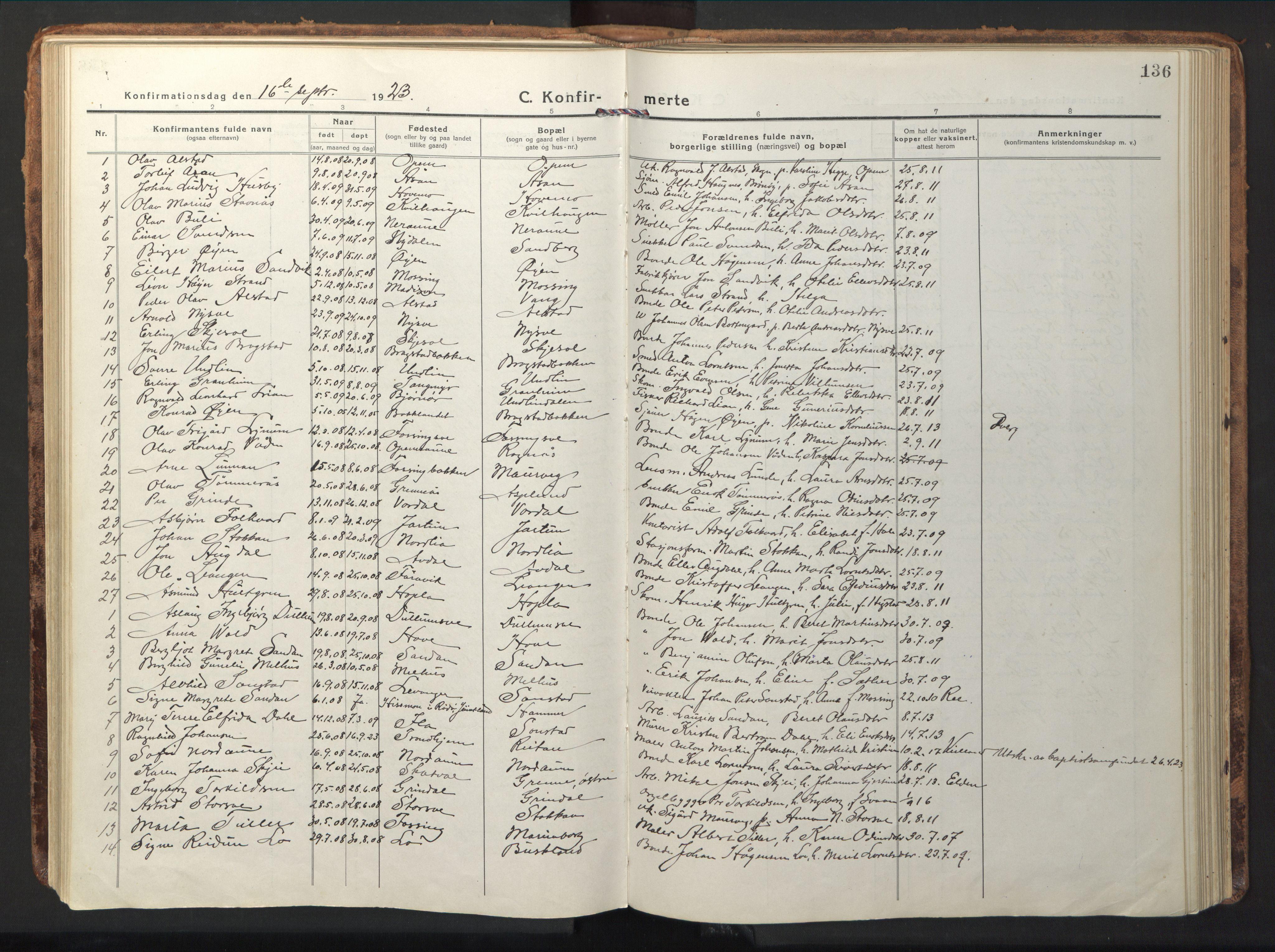 SAT, Ministerialprotokoller, klokkerbøker og fødselsregistre - Nord-Trøndelag, 714/L0136: Klokkerbok nr. 714C05, 1918-1957, s. 136