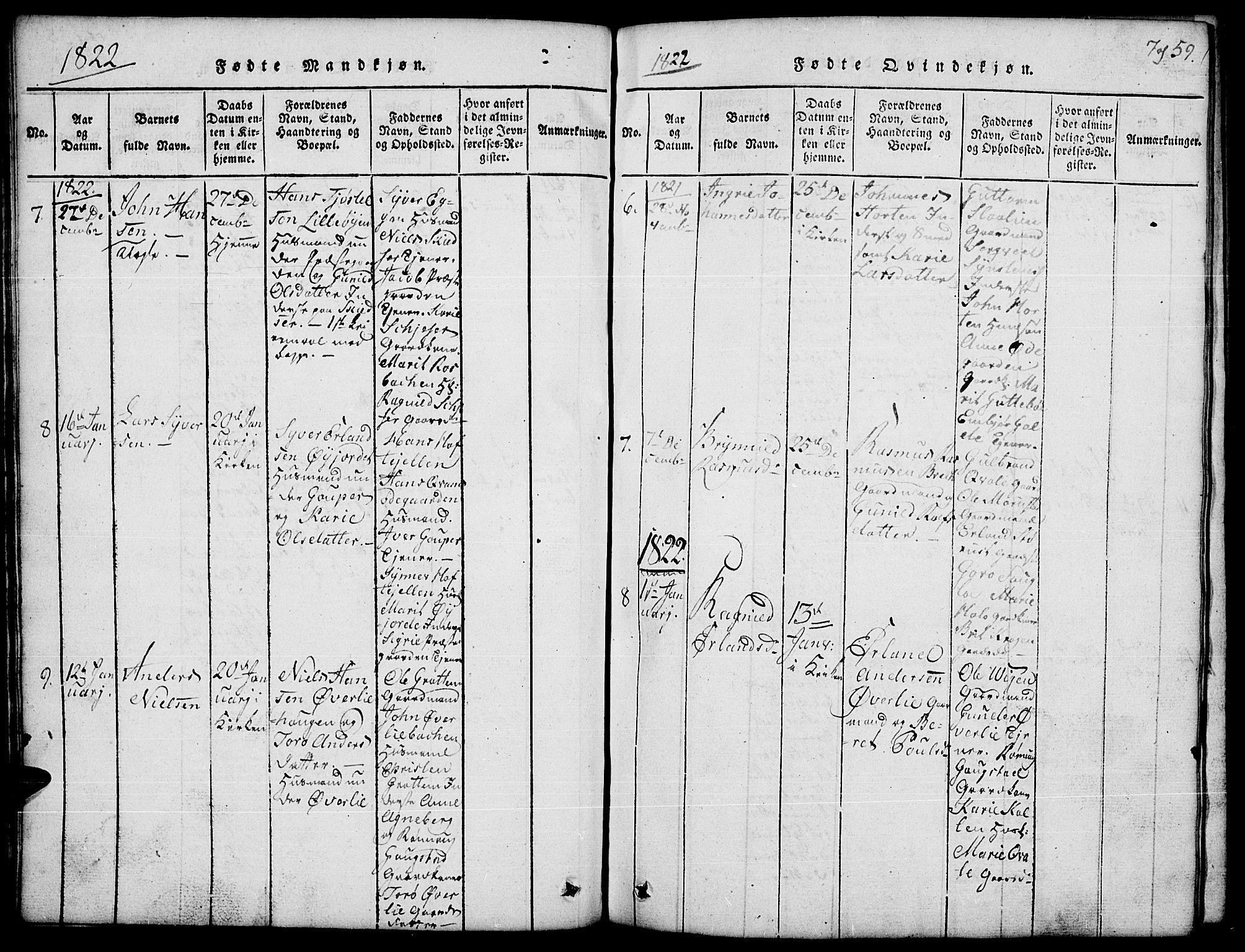 SAH, Lom prestekontor, L/L0001: Klokkerbok nr. 1, 1815-1836, s. 59