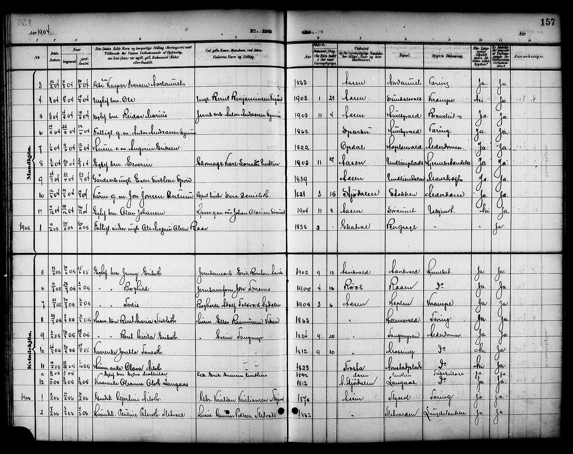 SAT, Ministerialprotokoller, klokkerbøker og fødselsregistre - Nord-Trøndelag, 714/L0135: Klokkerbok nr. 714C04, 1899-1918, s. 157