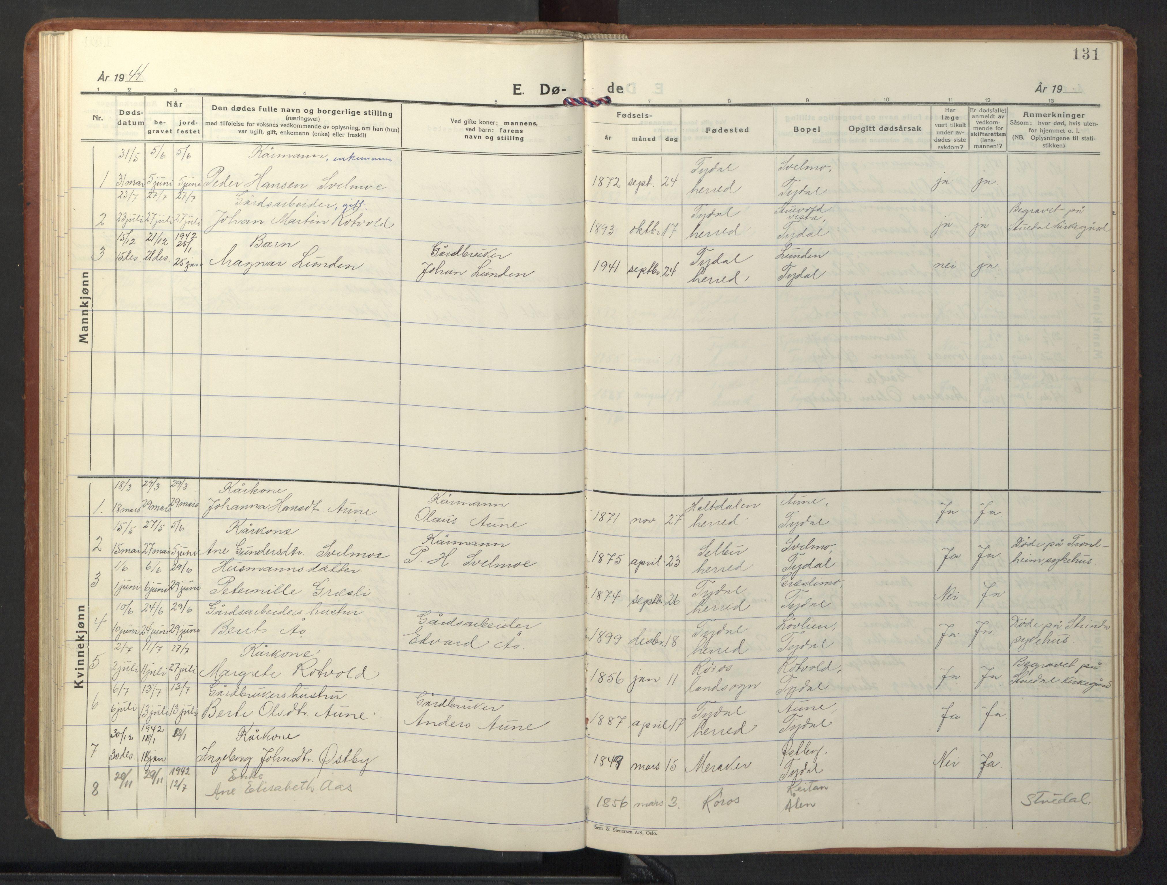 SAT, Ministerialprotokoller, klokkerbøker og fødselsregistre - Sør-Trøndelag, 698/L1169: Klokkerbok nr. 698C06, 1930-1949, s. 131