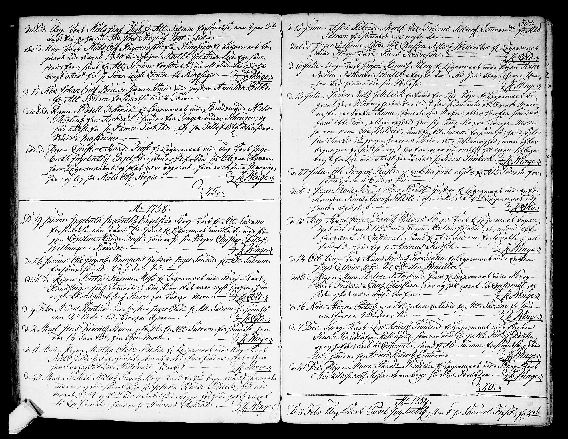 SAKO, Kongsberg kirkebøker, F/Fa/L0004: Ministerialbok nr. I 4, 1756-1768, s. 304