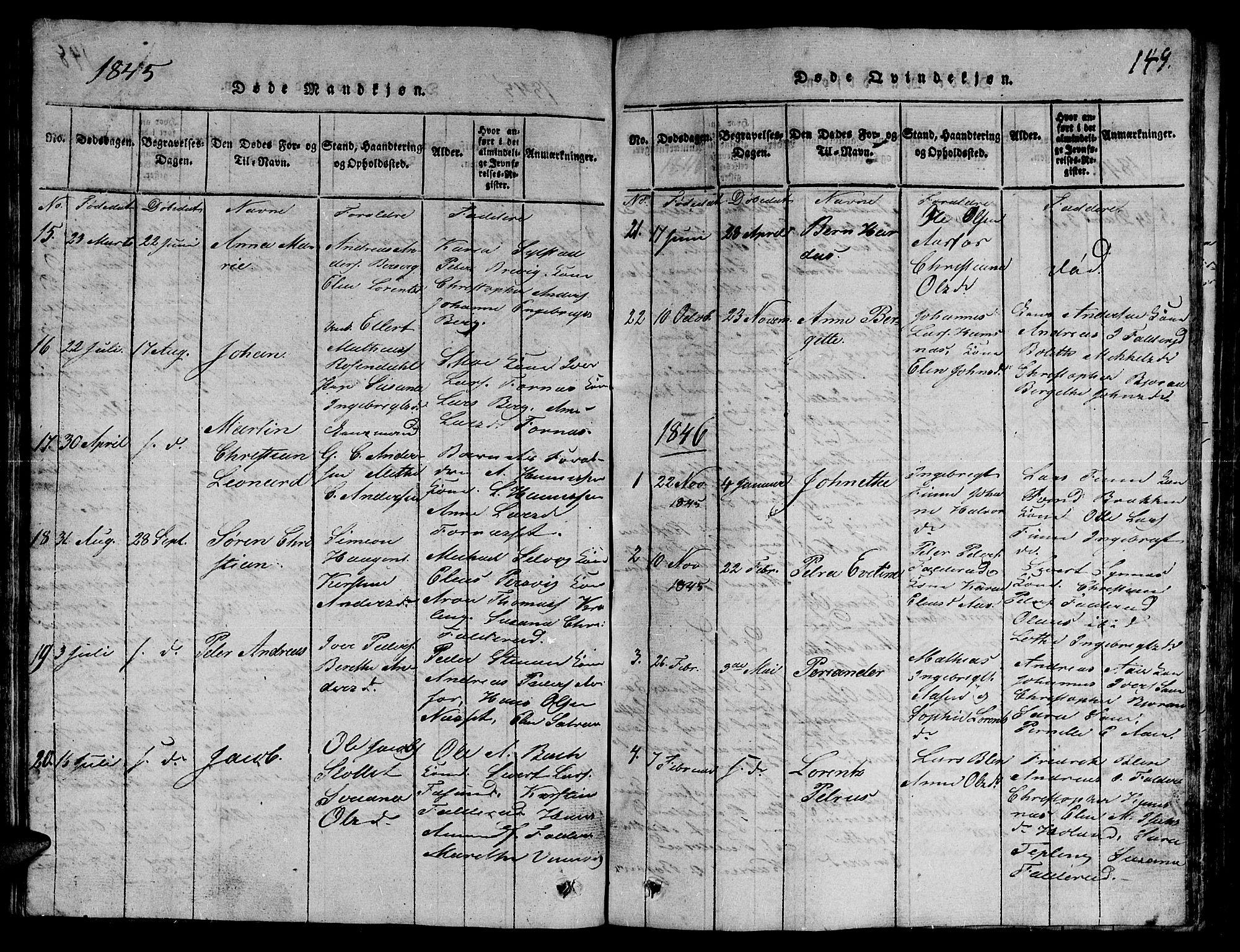 SAT, Ministerialprotokoller, klokkerbøker og fødselsregistre - Nord-Trøndelag, 780/L0648: Klokkerbok nr. 780C01 /3, 1815-1877, s. 149
