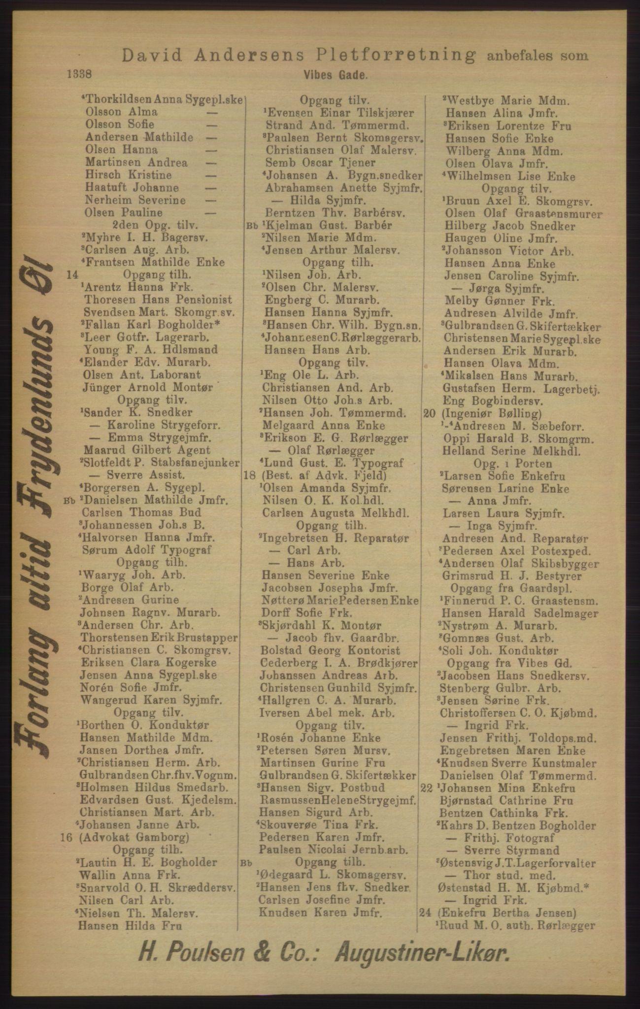 RA, Kristiania adressebok (publikasjon)*, 1906, s. 1338