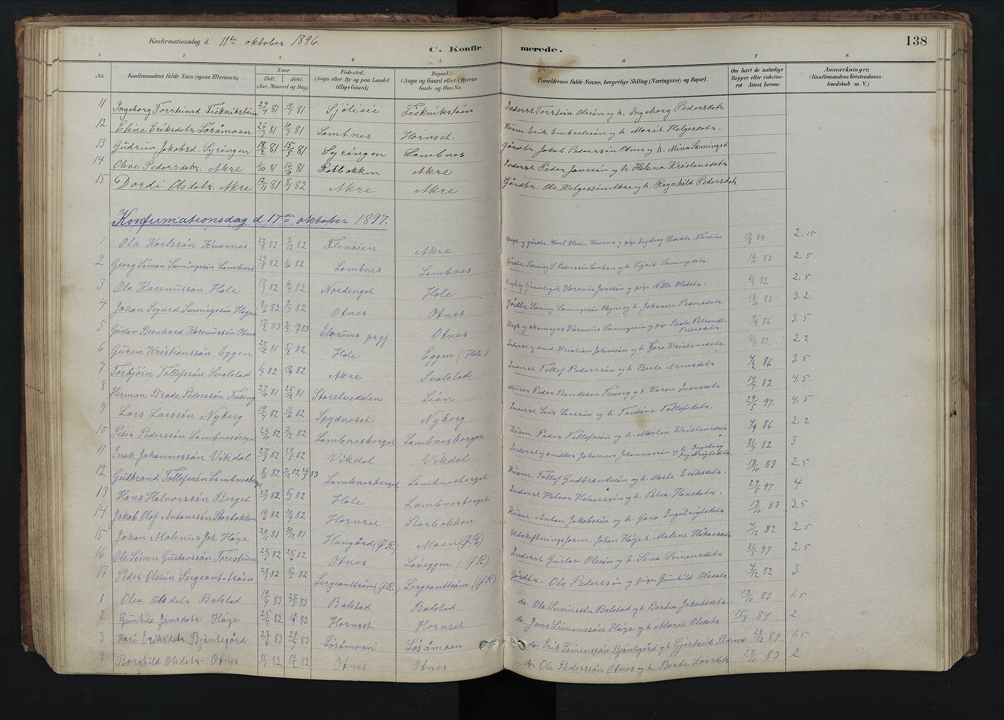 SAH, Rendalen prestekontor, H/Ha/Hab/L0009: Klokkerbok nr. 9, 1879-1902, s. 138