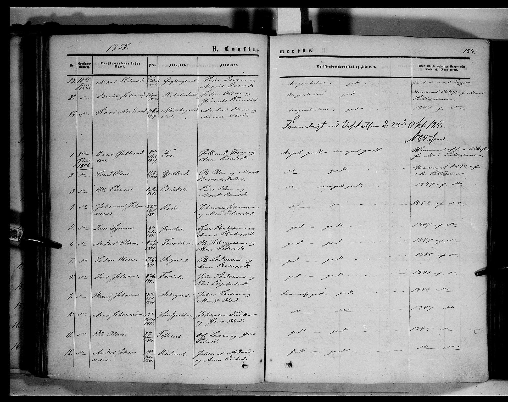 SAH, Sør-Fron prestekontor, H/Ha/Haa/L0001: Ministerialbok nr. 1, 1849-1863, s. 186