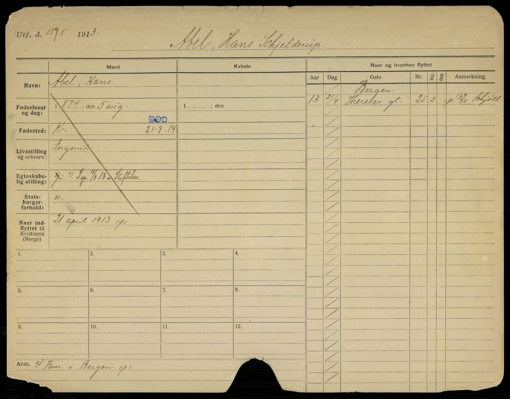 SAO, Oslo folkeregister, Registerkort, G/Gb/L0017: Menn, 1914