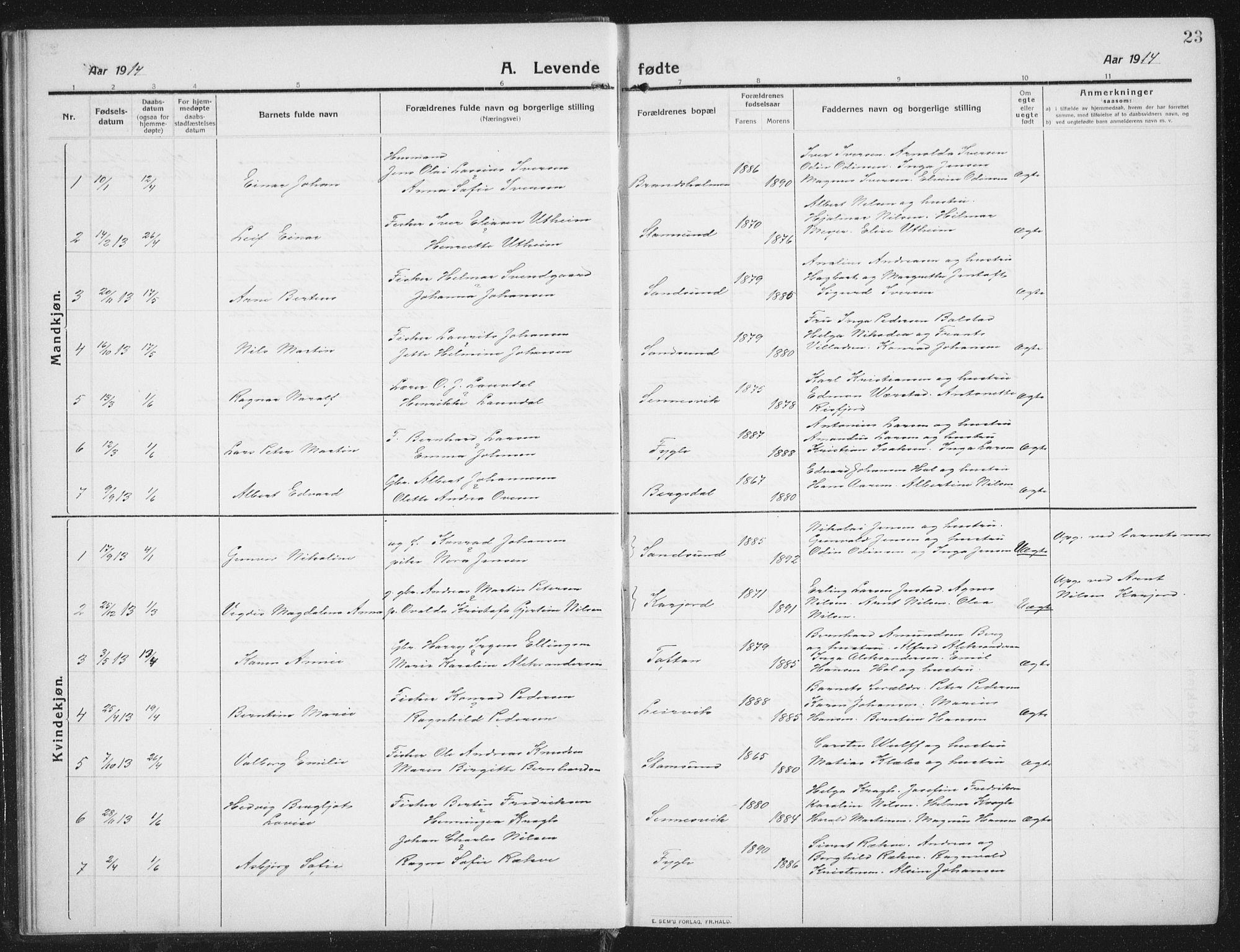 SAT, Ministerialprotokoller, klokkerbøker og fødselsregistre - Nordland, 882/L1183: Klokkerbok nr. 882C01, 1911-1938, s. 23