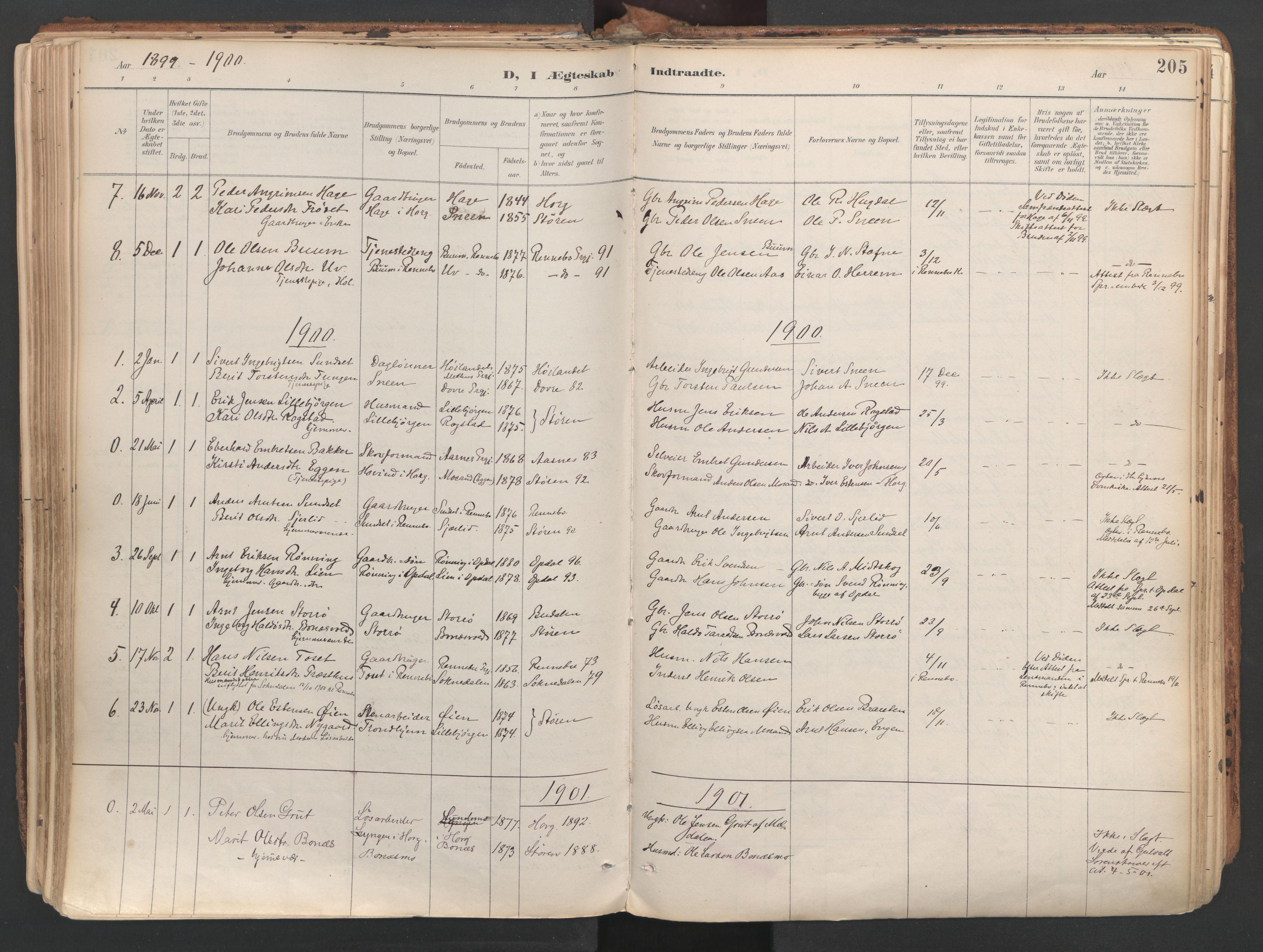 SAT, Ministerialprotokoller, klokkerbøker og fødselsregistre - Sør-Trøndelag, 687/L1004: Ministerialbok nr. 687A10, 1891-1923, s. 205