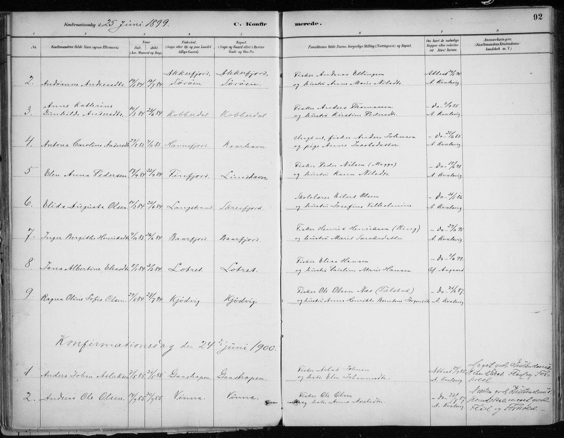 SATØ, Hammerfest sokneprestkontor, H/Ha/L0013.kirke: Ministerialbok nr. 13, 1898-1917, s. 92