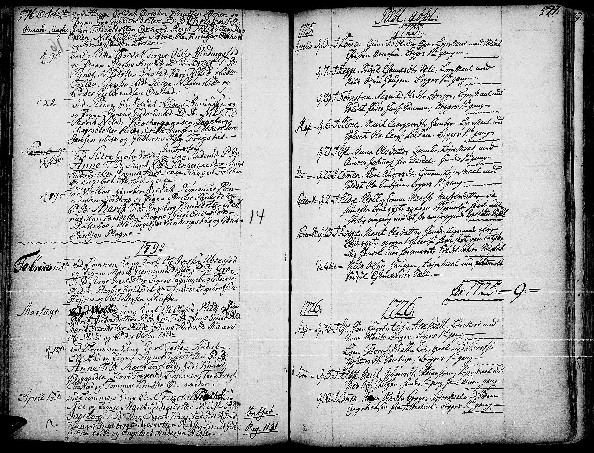 SAH, Slidre prestekontor, Ministerialbok nr. 1, 1724-1814, s. 576-577